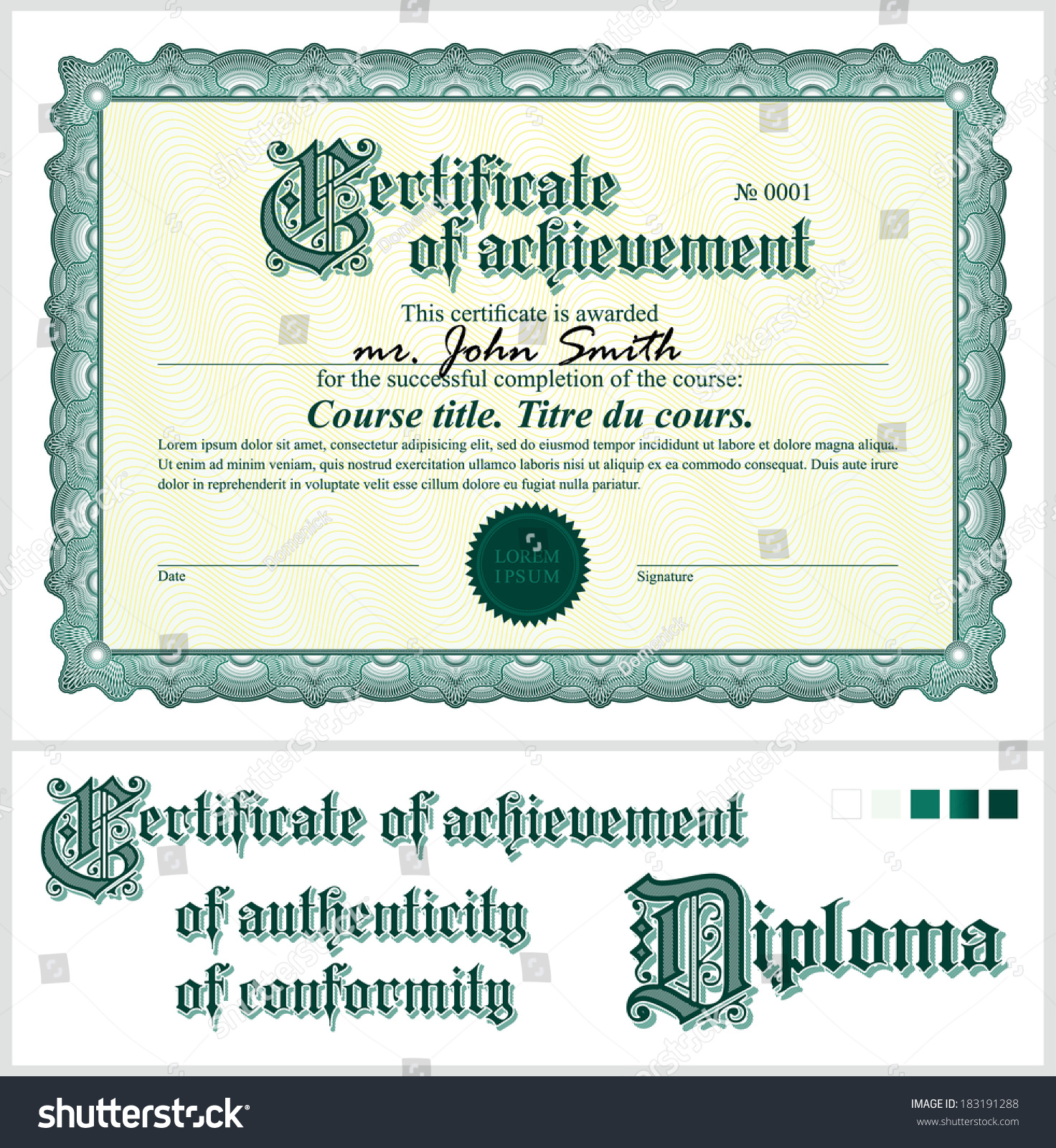 Course completion certificate peach bordered completion course completion certificate template choice image templates stock vector green certificate template horizontal additional design elements xflitez Gallery