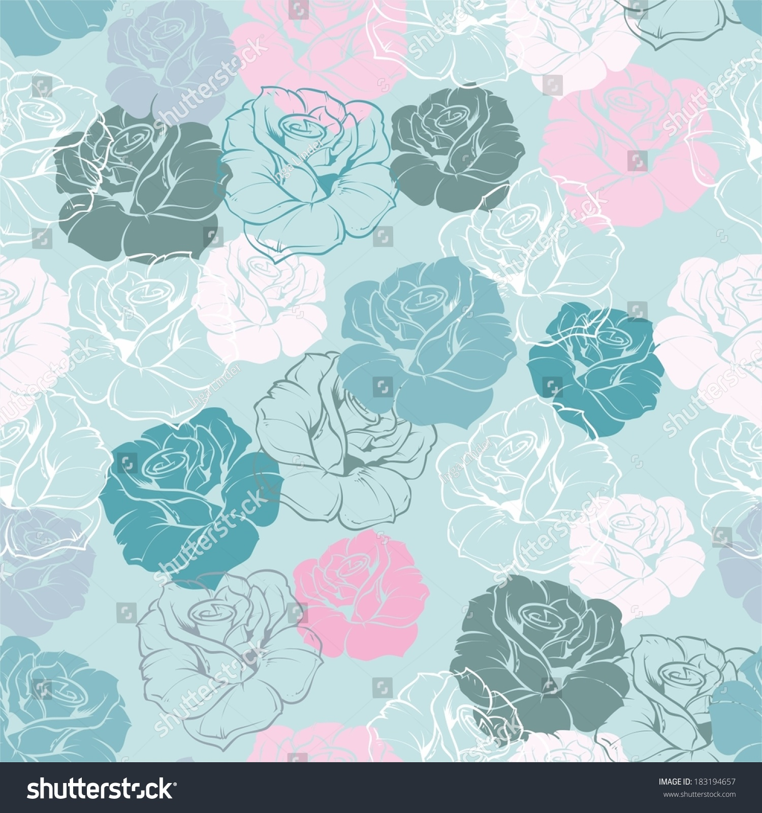 Seamless Floral Vector Pattern Pink White Stock Image Download Now