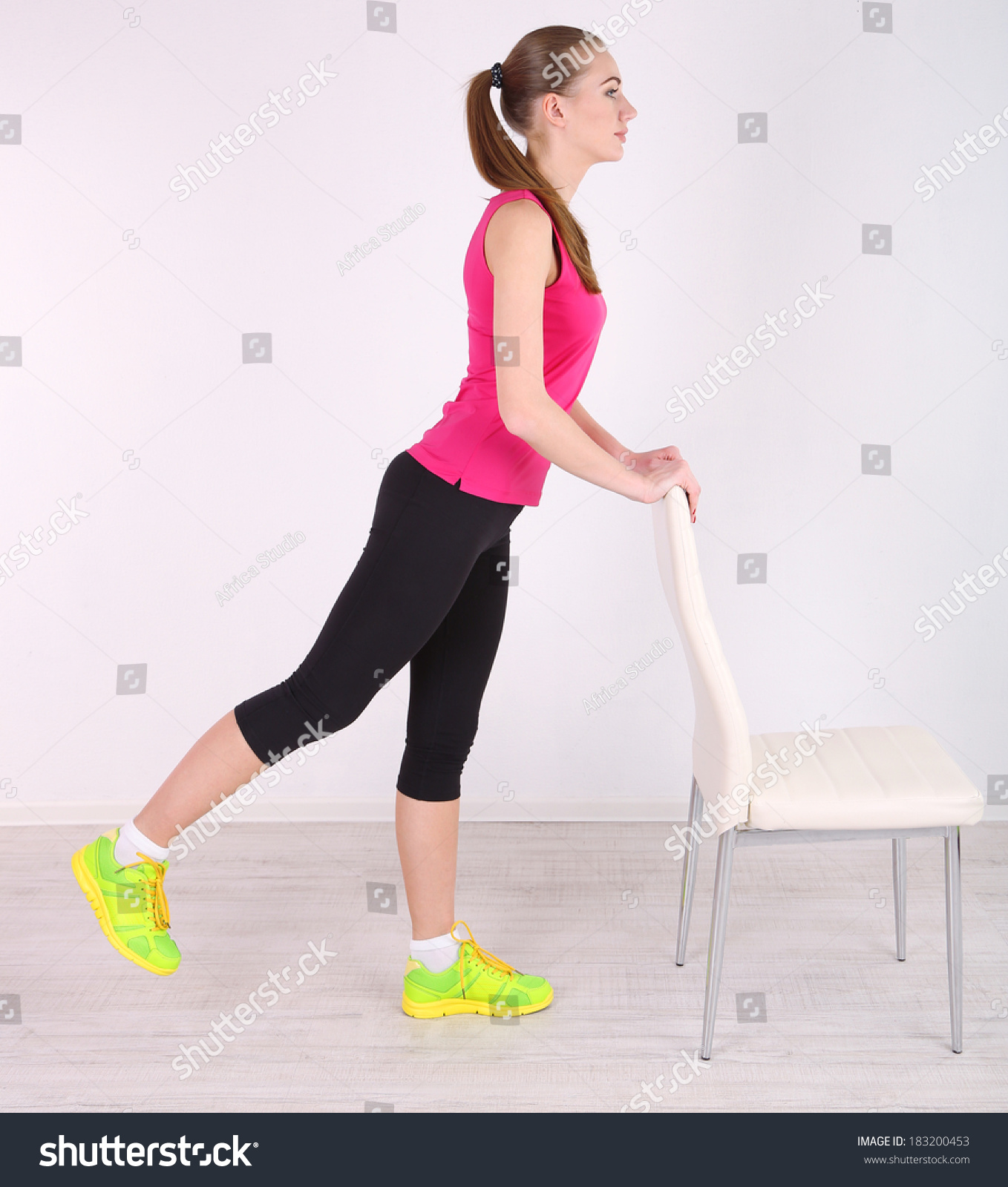 Woman Pilates Chair Exercises Fitness Stock Photo: Young Beautiful Fitness Girl Exercising With Chair In Gym