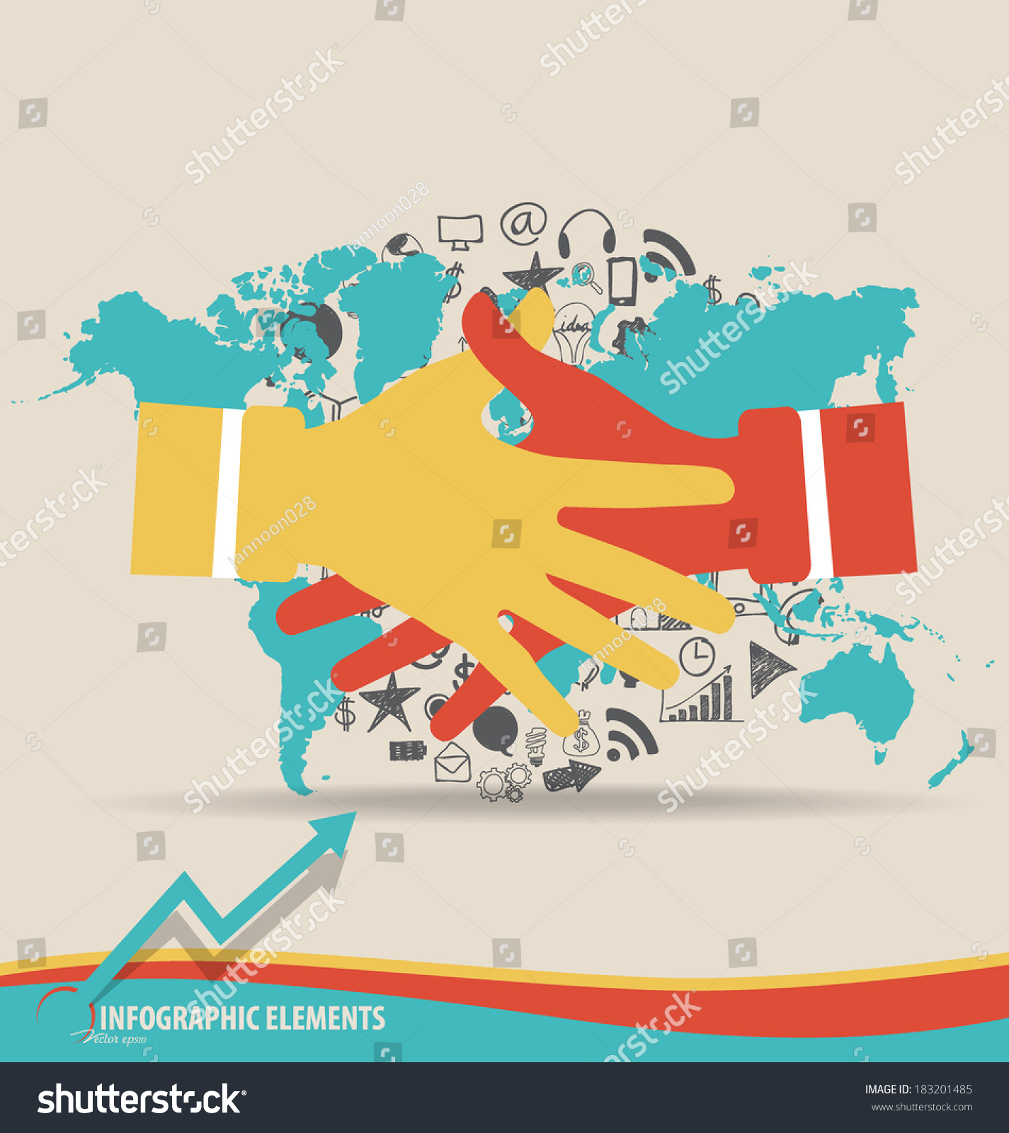Handshake hands application world map vector stock vector handshake hands with application and world map vector illustration gumiabroncs Gallery