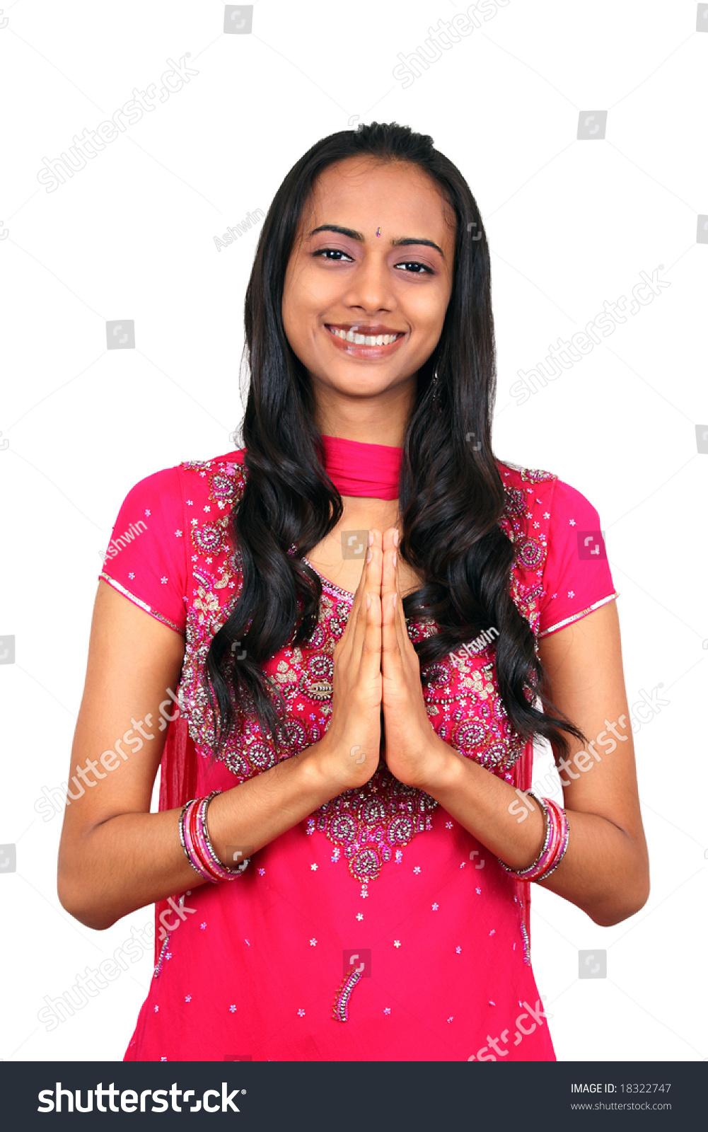 Beautiful Young Indian Girl Namaste Pose Stock Photo -5363