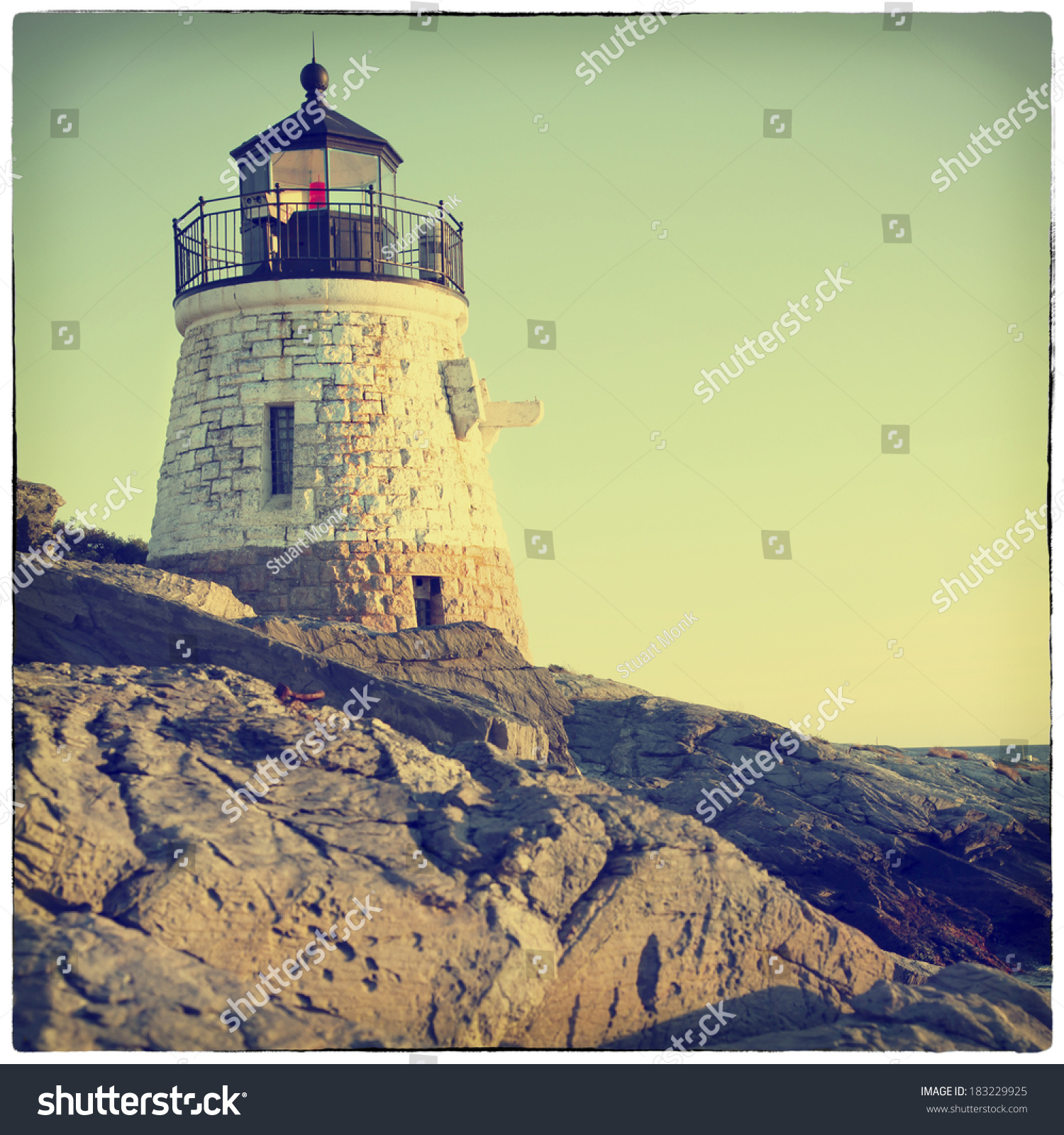 Castle Hill Lighthouse In Newport Rhode Island With