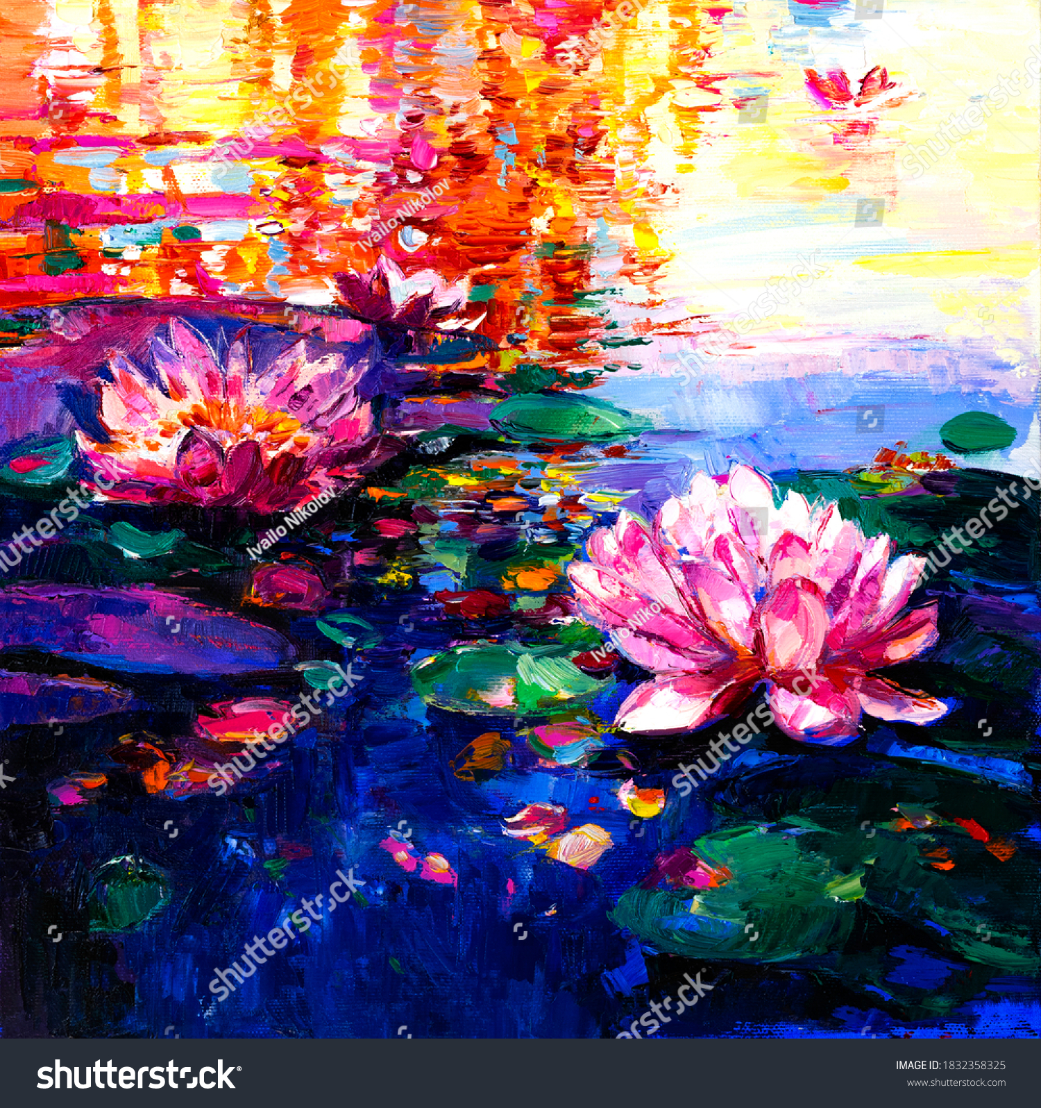 Oil Painting of lilies in the water. Modern art. #1832358325