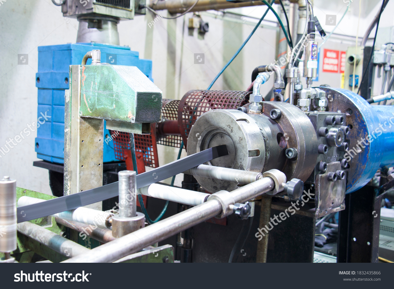 Rubber extruder is producing rubber profile #1832435866