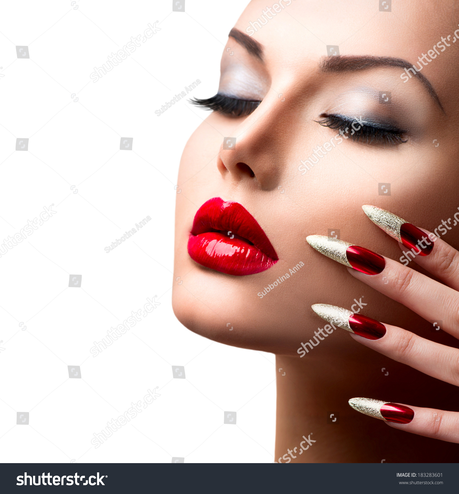 Fashion Beauty Model Girl Manicure Makeup Stock Photo 183283601 Shutterstock