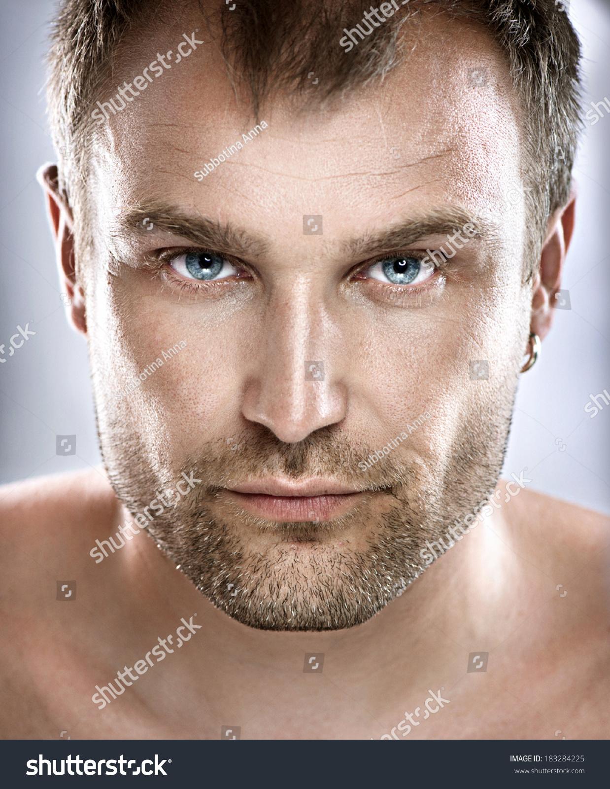 Closeup Portrait Of A: Handsome Man Portrait. Face. Guy Close Up Stock Photo