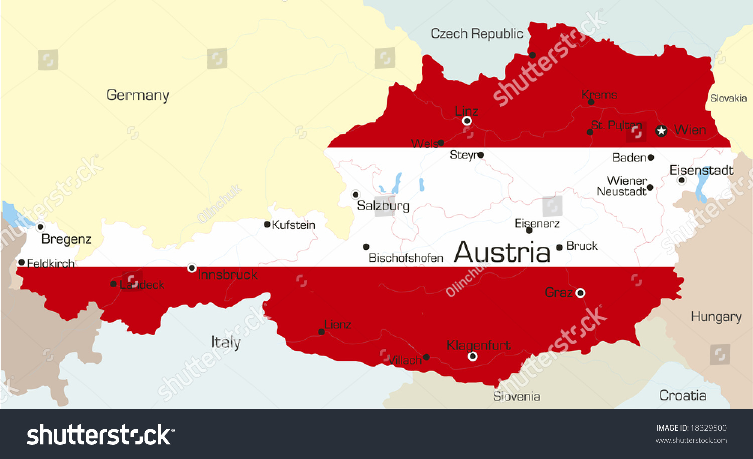Abstract vector color map austria country stock vector 18329500 abstract vector color map of austria country coloured by national flag gumiabroncs Images
