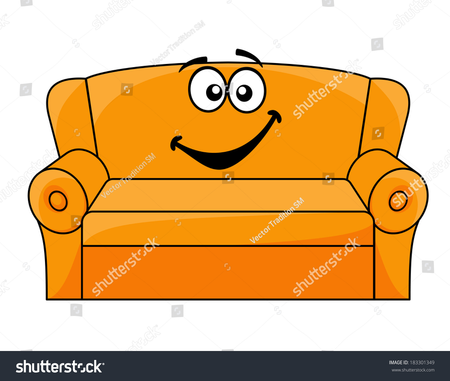 Cartoon Upholstered Orange Couch, Sofa Or Settee With A