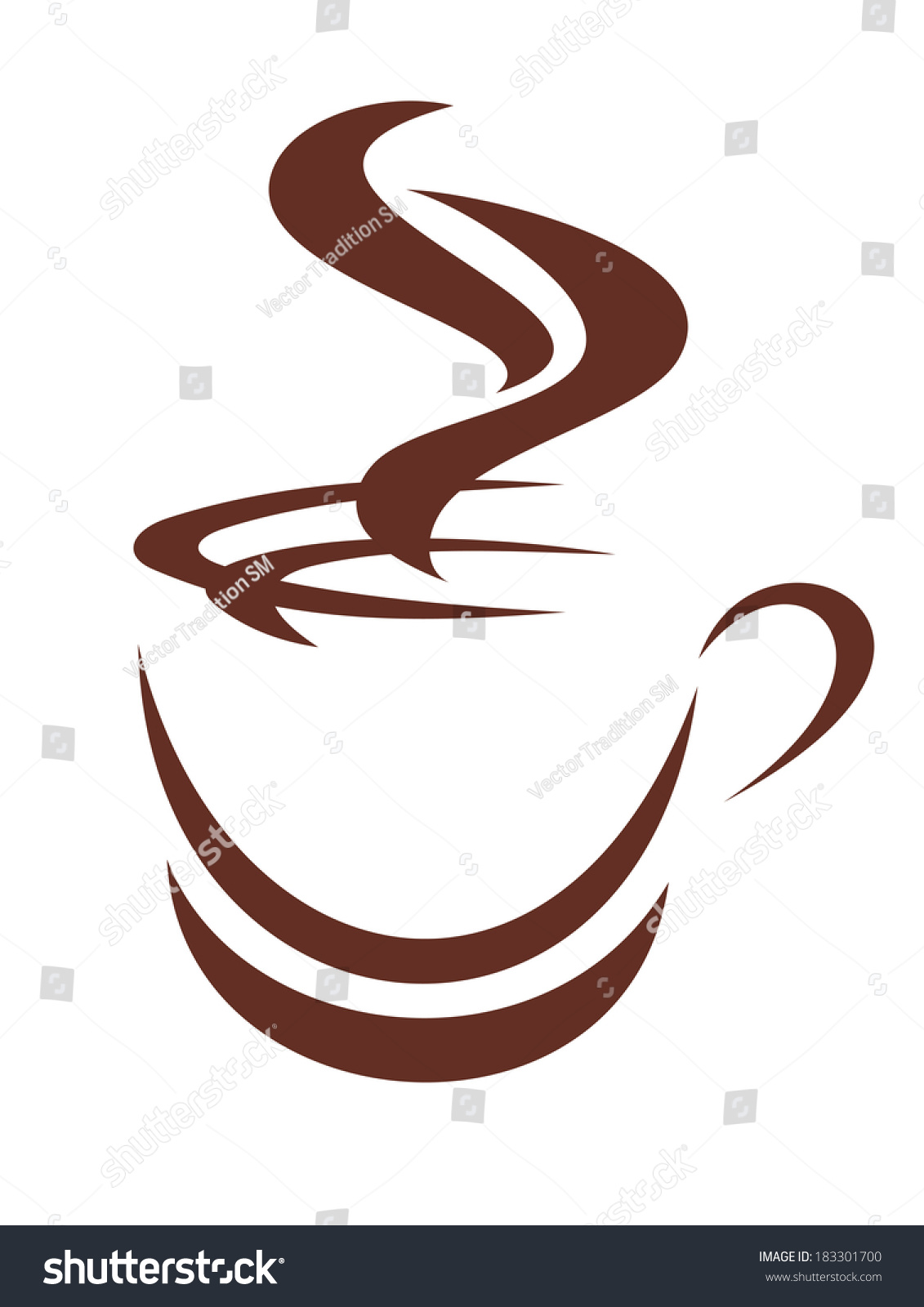 doodle sketch steaming cup coffee tea stock vector