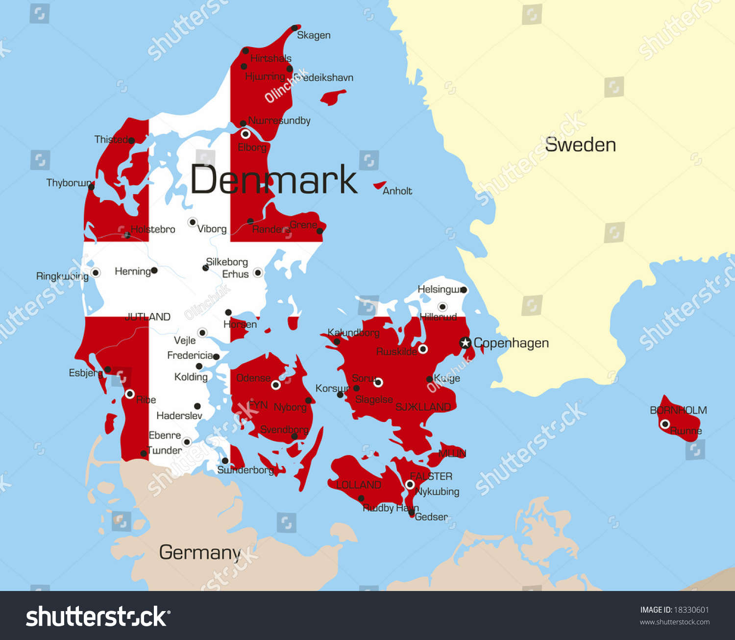 abstract vector color map of denmark country coloured by national flag. abstract vector color map denmark country stock vector