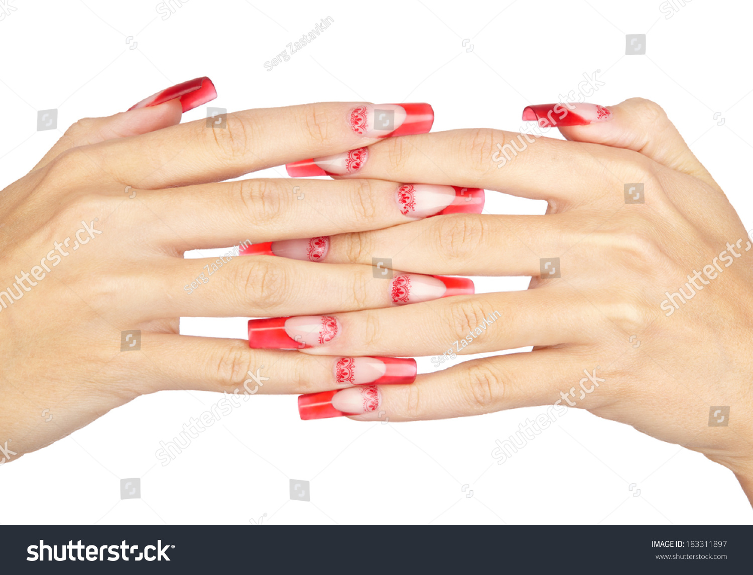 Hands Red French Acrylic Nails Manicure Stock Photo 183311897 ...