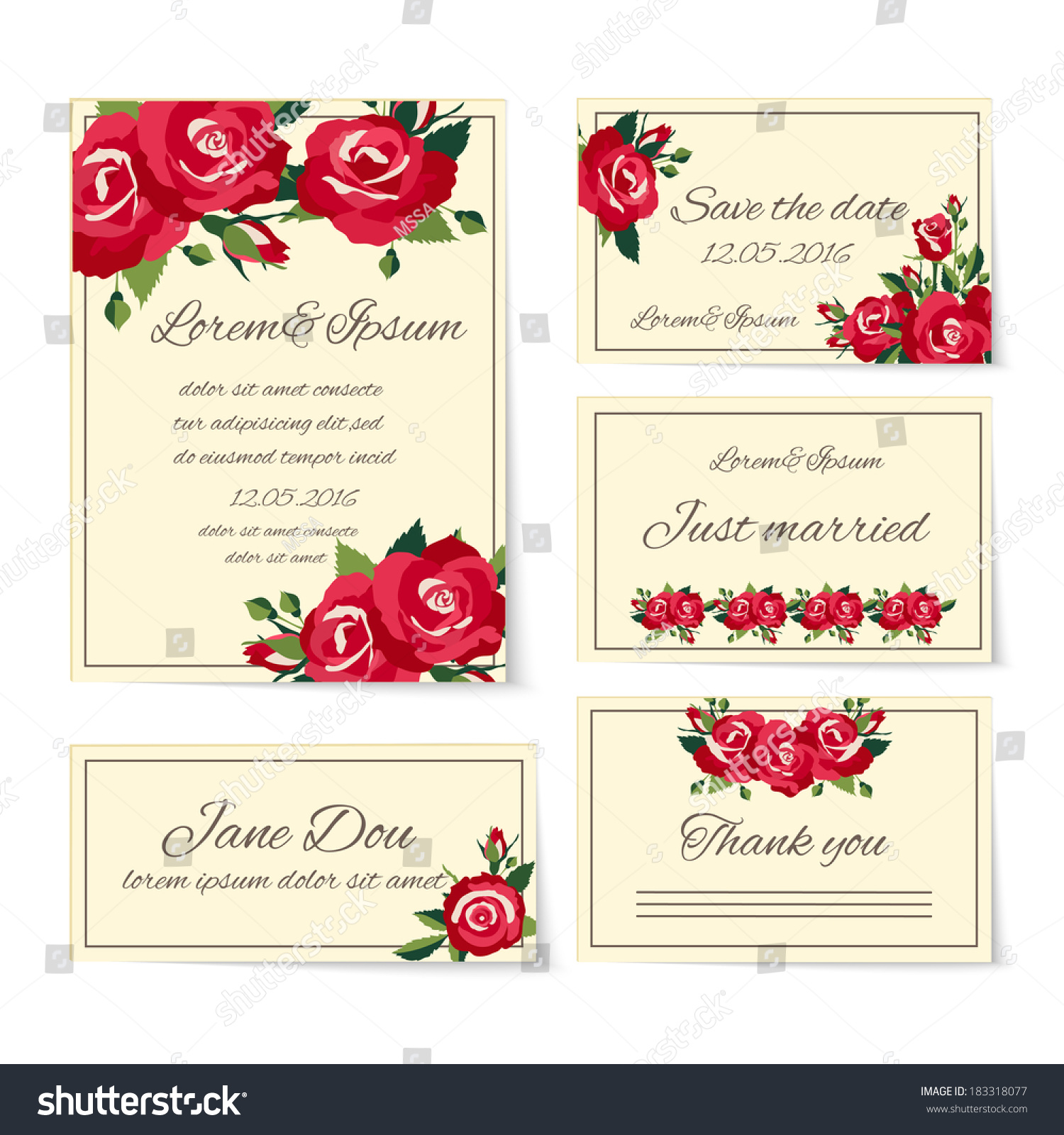 Complete Set Wedding Card Templates Covering Stock Vector (Royalty ...