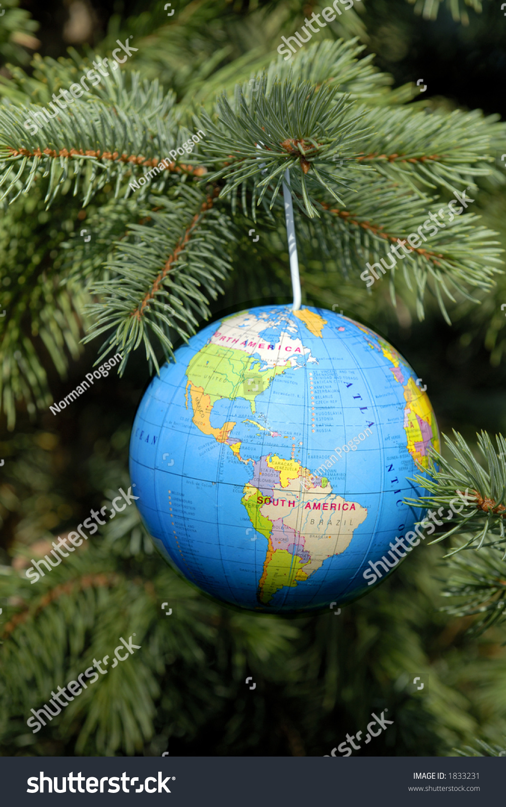 World globe christmas ornaments - World Globe Christmas Decoration Hanging On A Christmas Tree Preview Save To A Lightbox