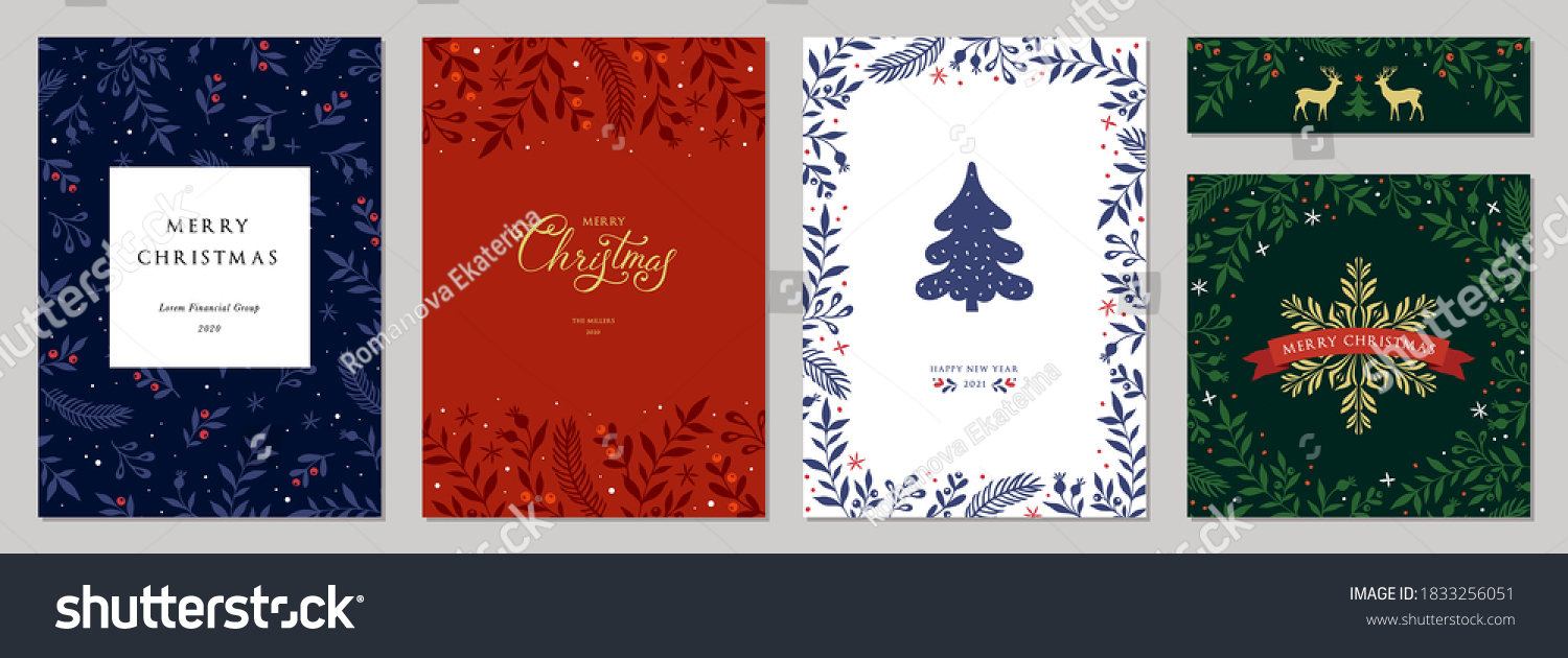 Merry Christmas and Happy Holidays cards with New Year tree, reindeers, snowflakes, floral frames and backgrounds design. Modern universal artistic templates. Vector illustration. #1833256051