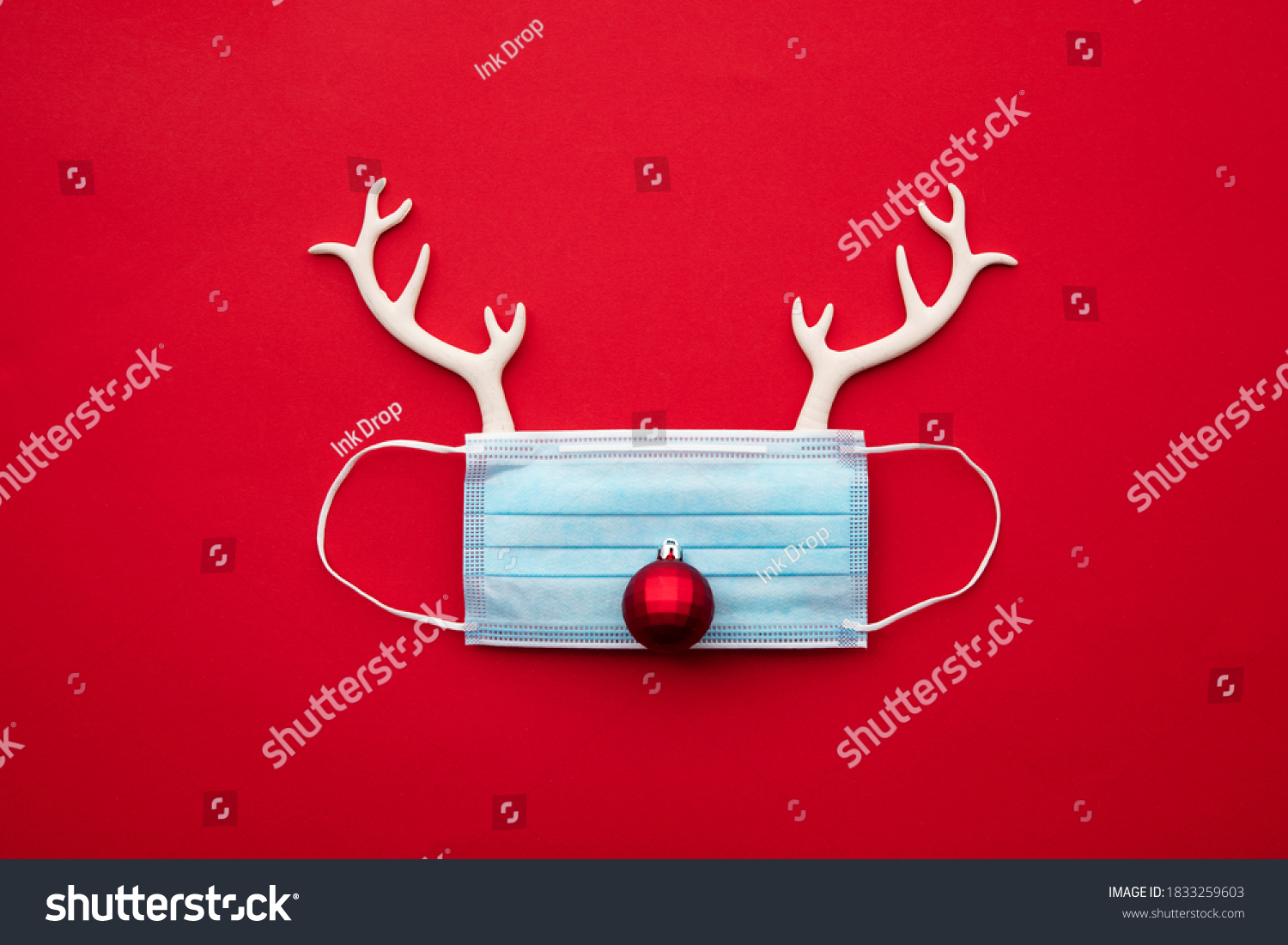 Festive christmas reindeer made from face mask and decorations #1833259603