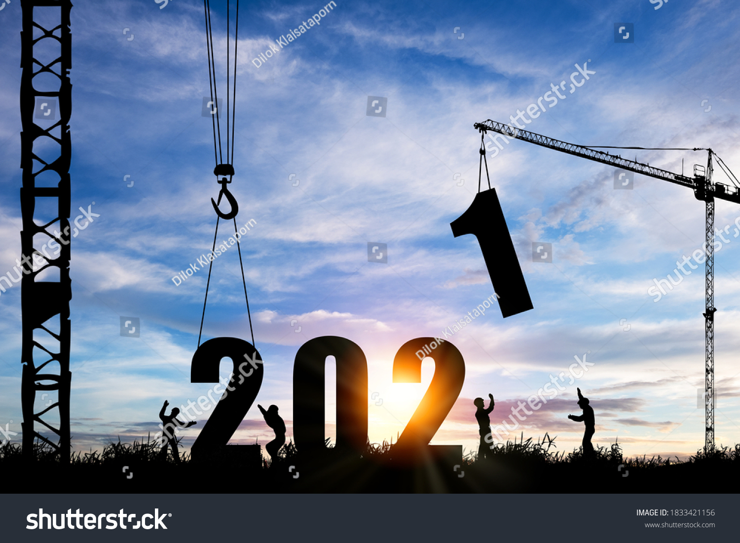 Silhouette of construction worker with crane under prepare welcome 2021 new year party and change new business. #1833421156
