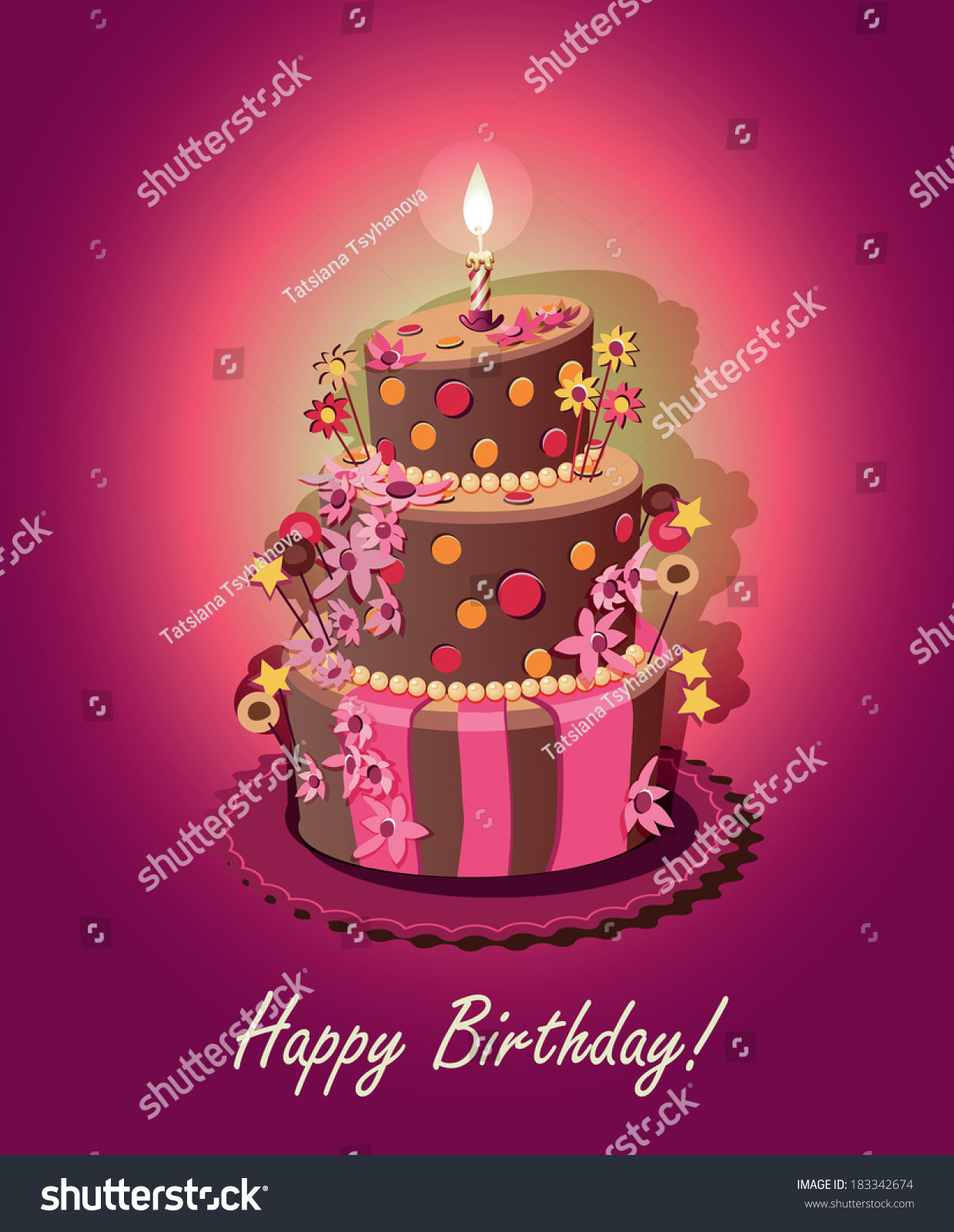 Birthday Cake Poster Vector Candle Stock Vector Royalty Free