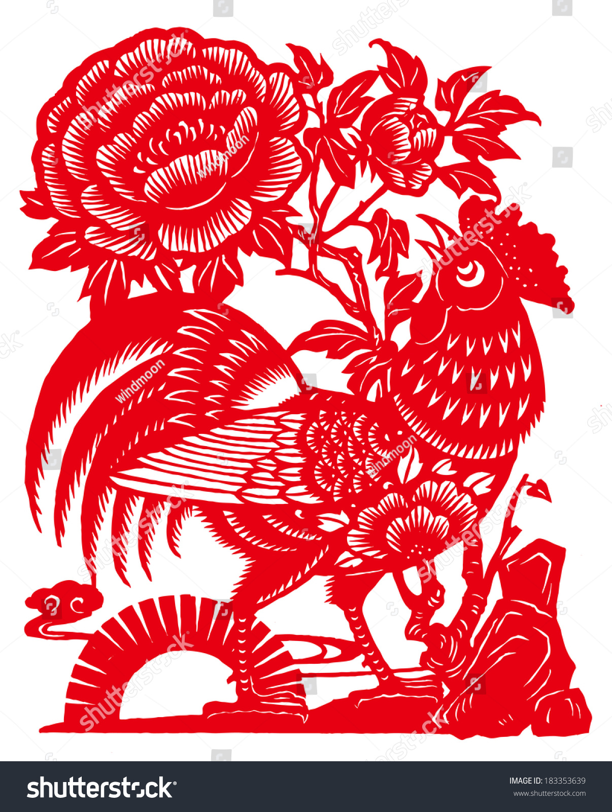 China Papercut Cock Peony Flowers Meaning Stock Illustration