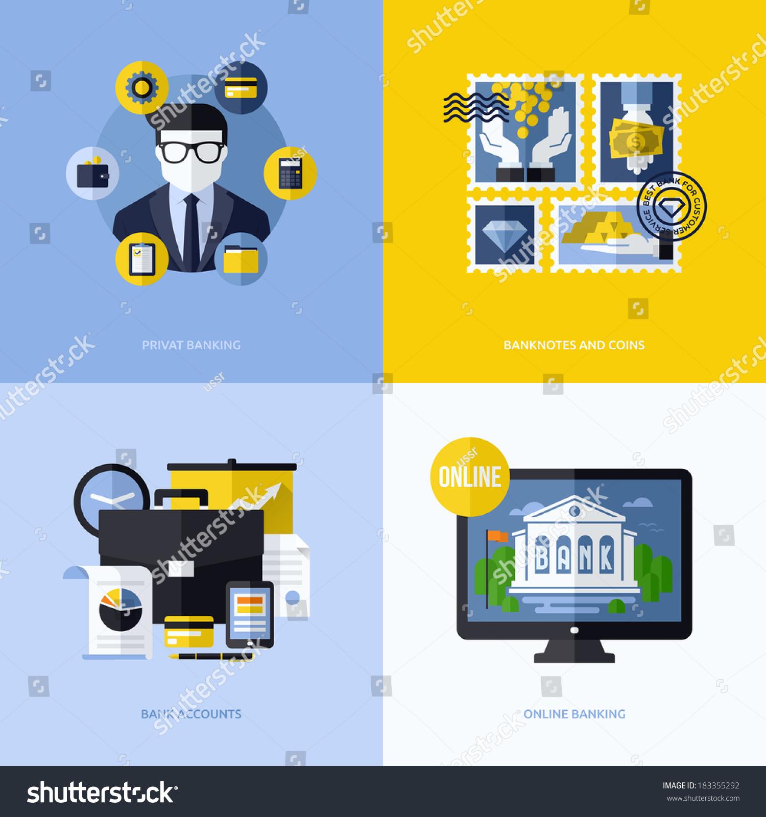 Design Bank Cor.Flat Vector Design Banking Symbols Icons Stock Vector Royalty
