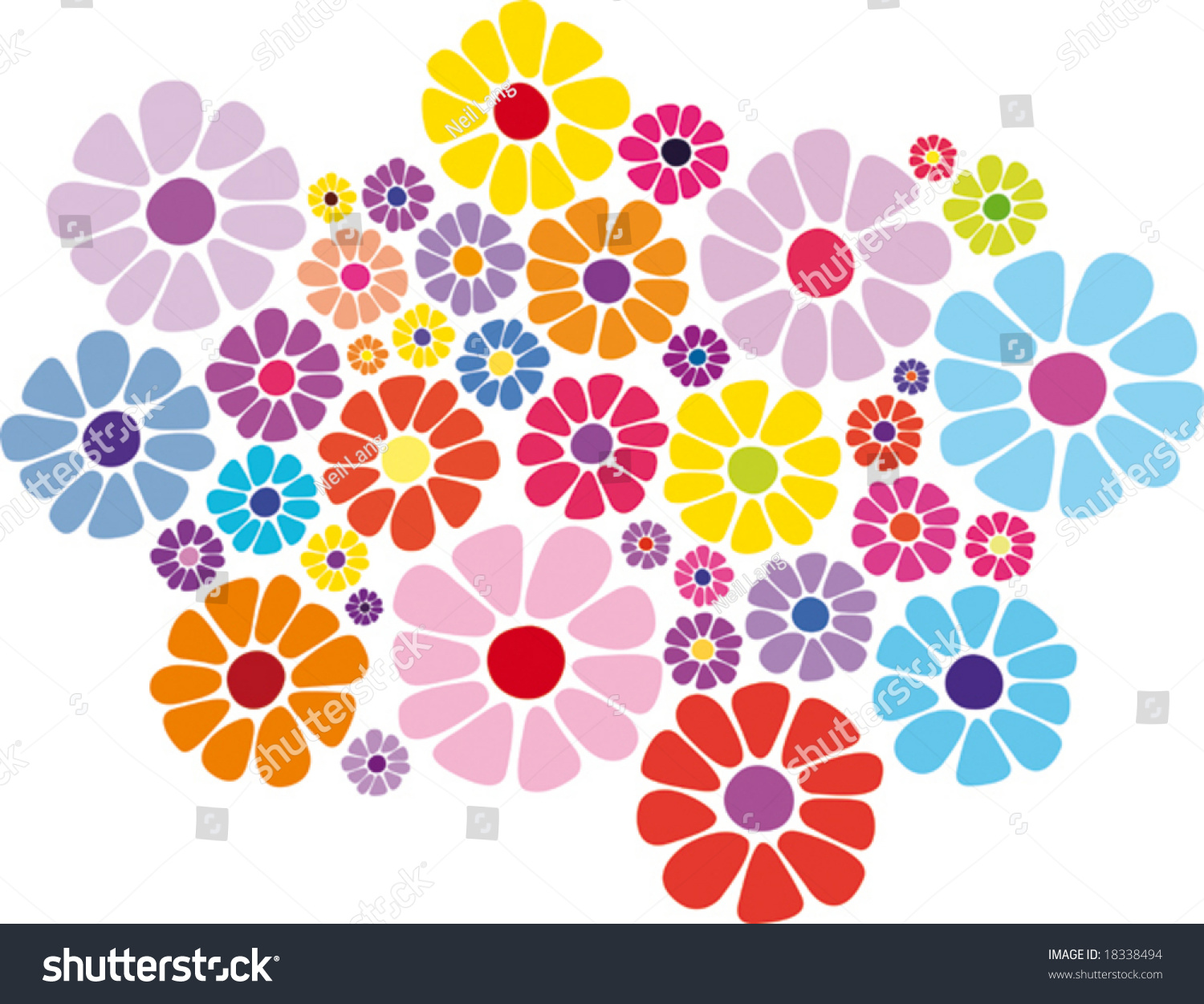 Colorful Daisy Flower Vector One Series Stock Vector 18338494