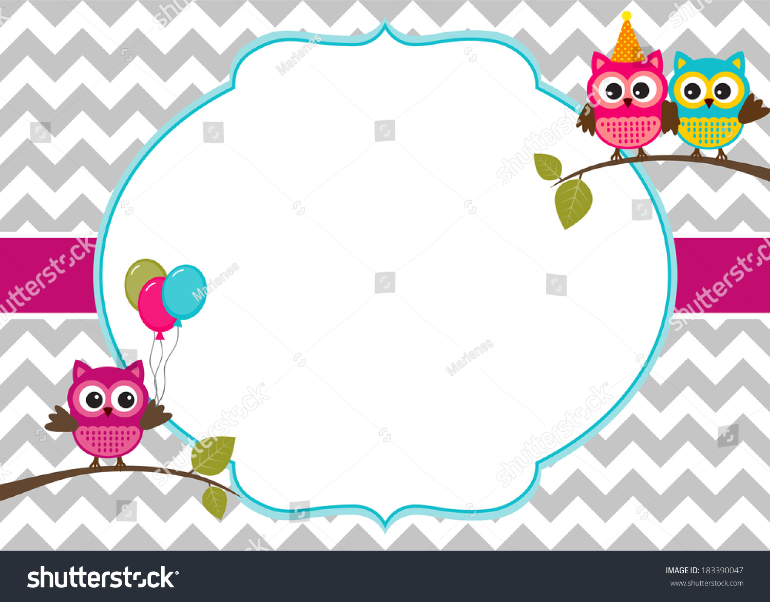 owl party invitation card template white stock vector   - owl party invitation card template with white frame for your text