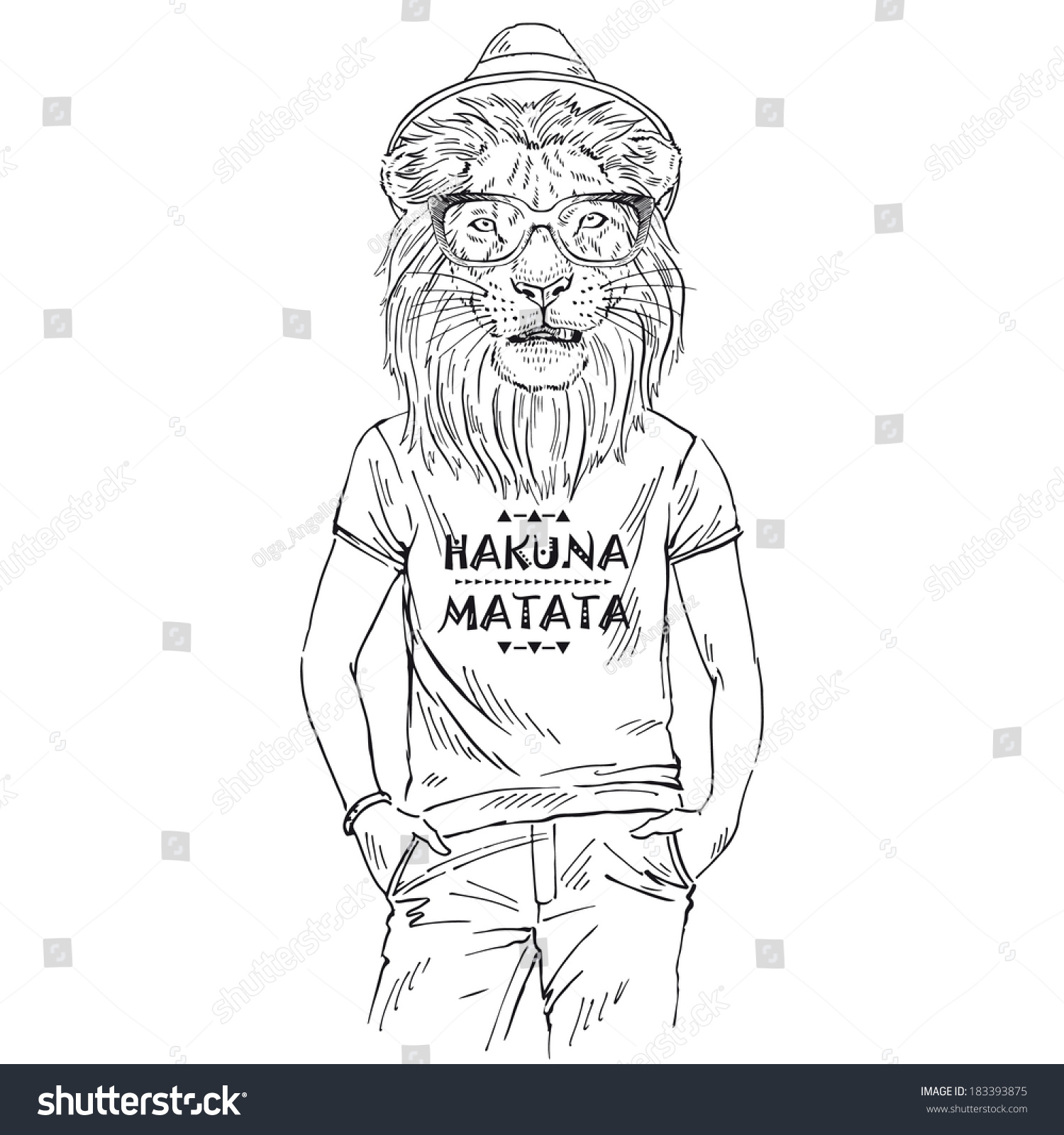 Hand Drawn One Color Sketch Lion Stock Vector 183393875 - Shutterstock