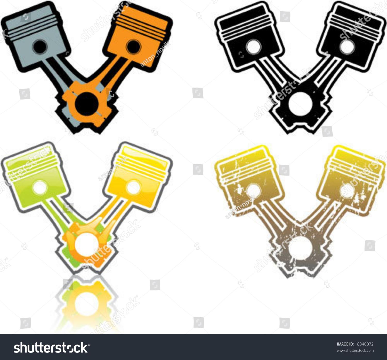 Vtwin Pistons Artwork Stock Vector 18340072 - Shutterstock