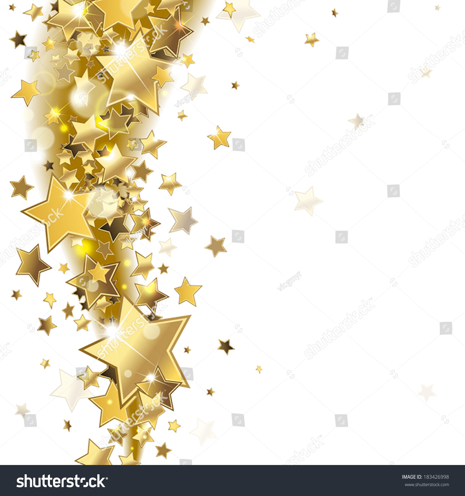 Background Shiny Gold Stars Stock Vector 183426998 Shutterstock