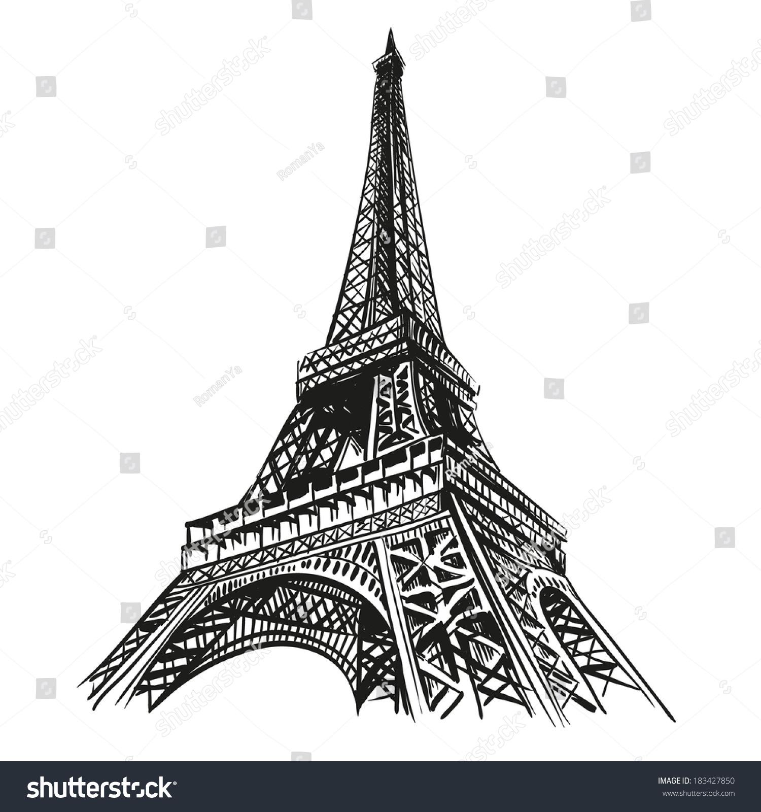 Paris Illustration: Hand Drawn Eiffel Tower Paris Vector Stock Vector