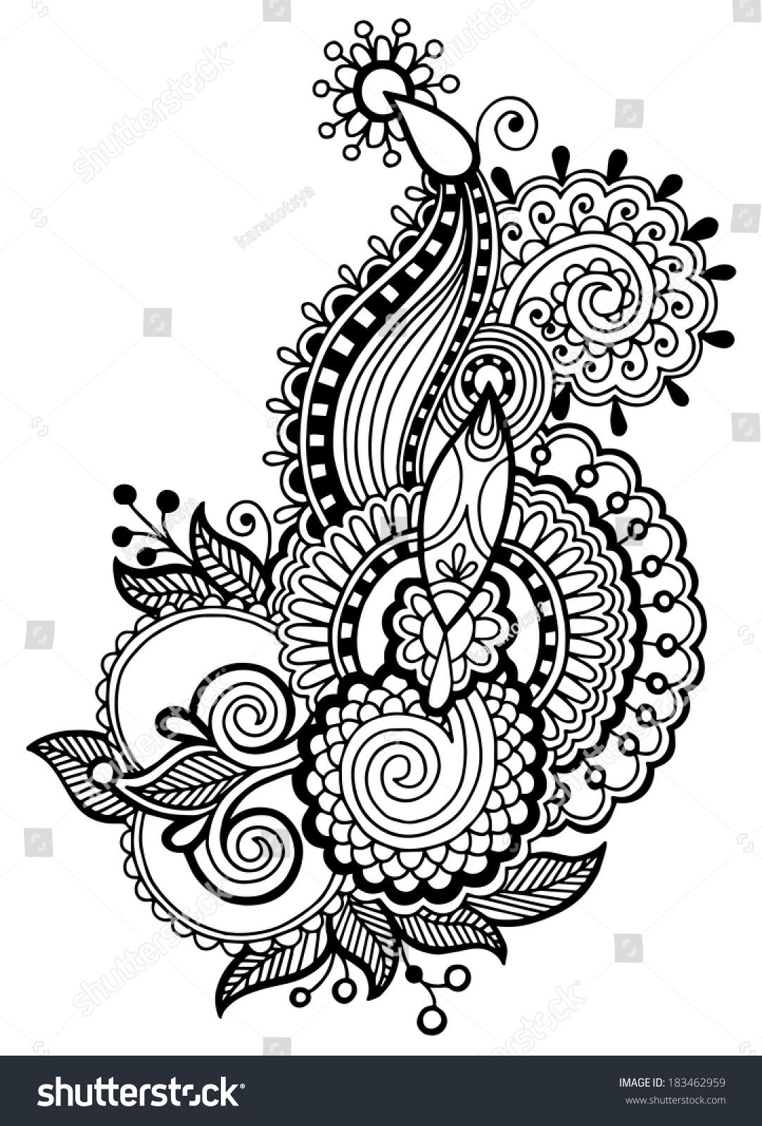 Black And White Hand Drawn Line Art Ornamental Ethnic Flowers
