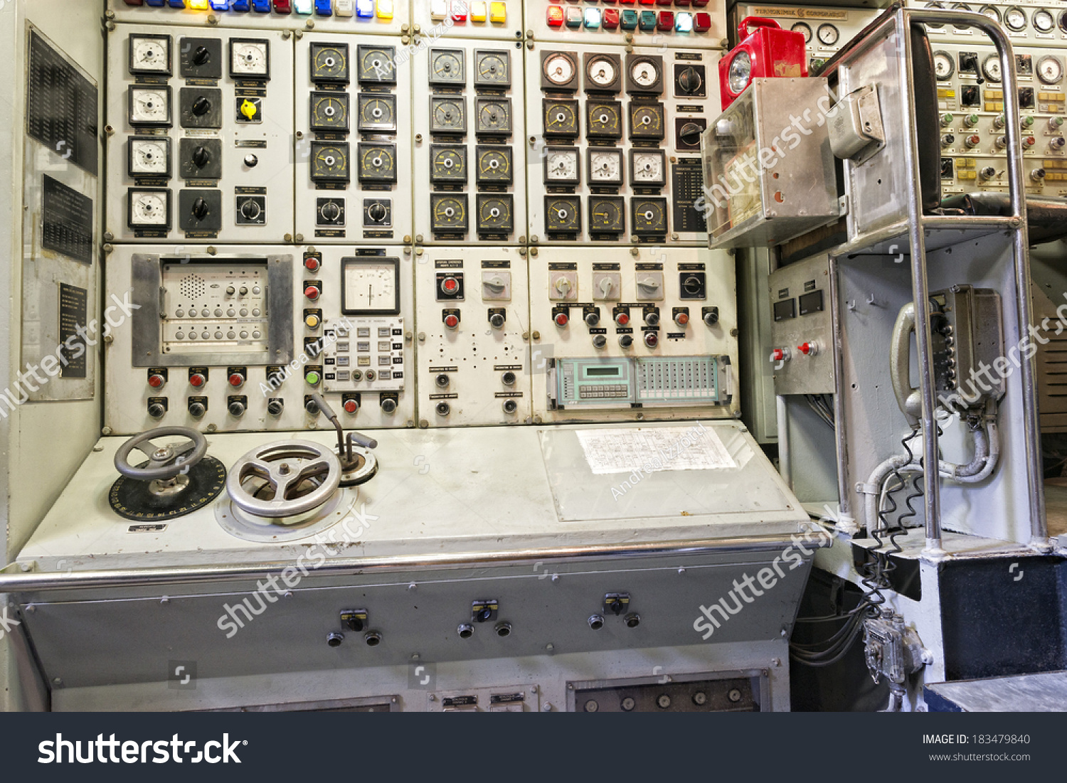 Old Control Panel Levers : Submarine old control panel detail stock photo