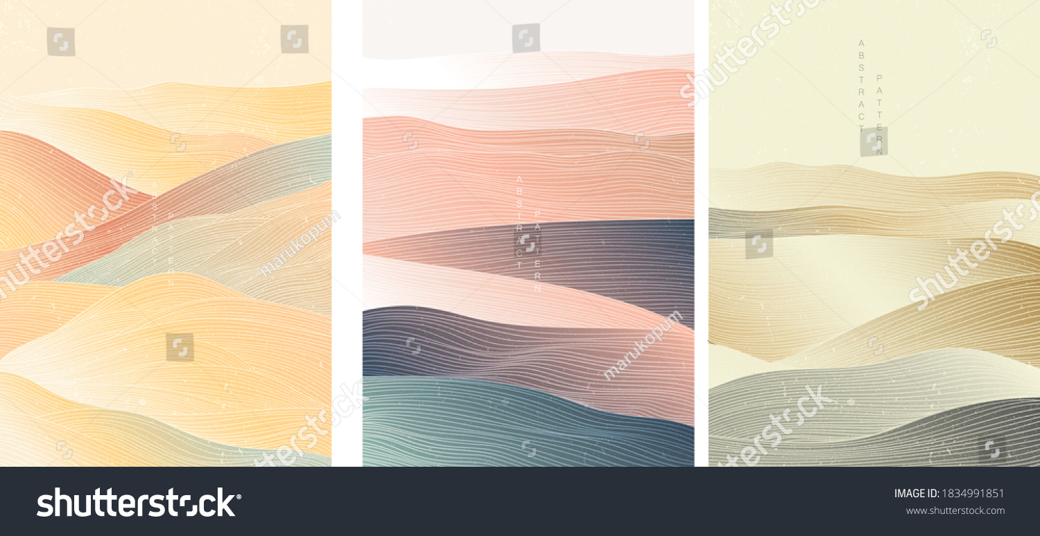 Japanese background with line wave pattern vector. Abstract template with geometric pattern. Mountain layout design in oriental style.  #1834991851