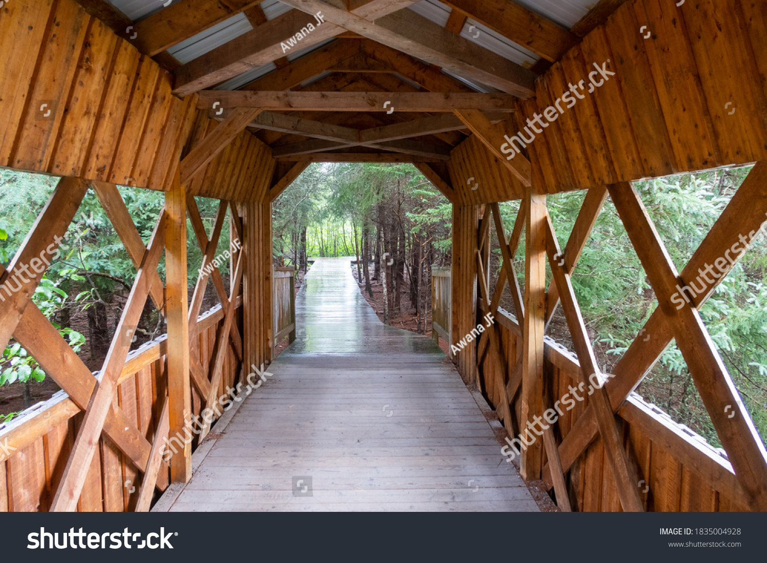 stock-photo-view-of-a-wooden-tunnel-insi