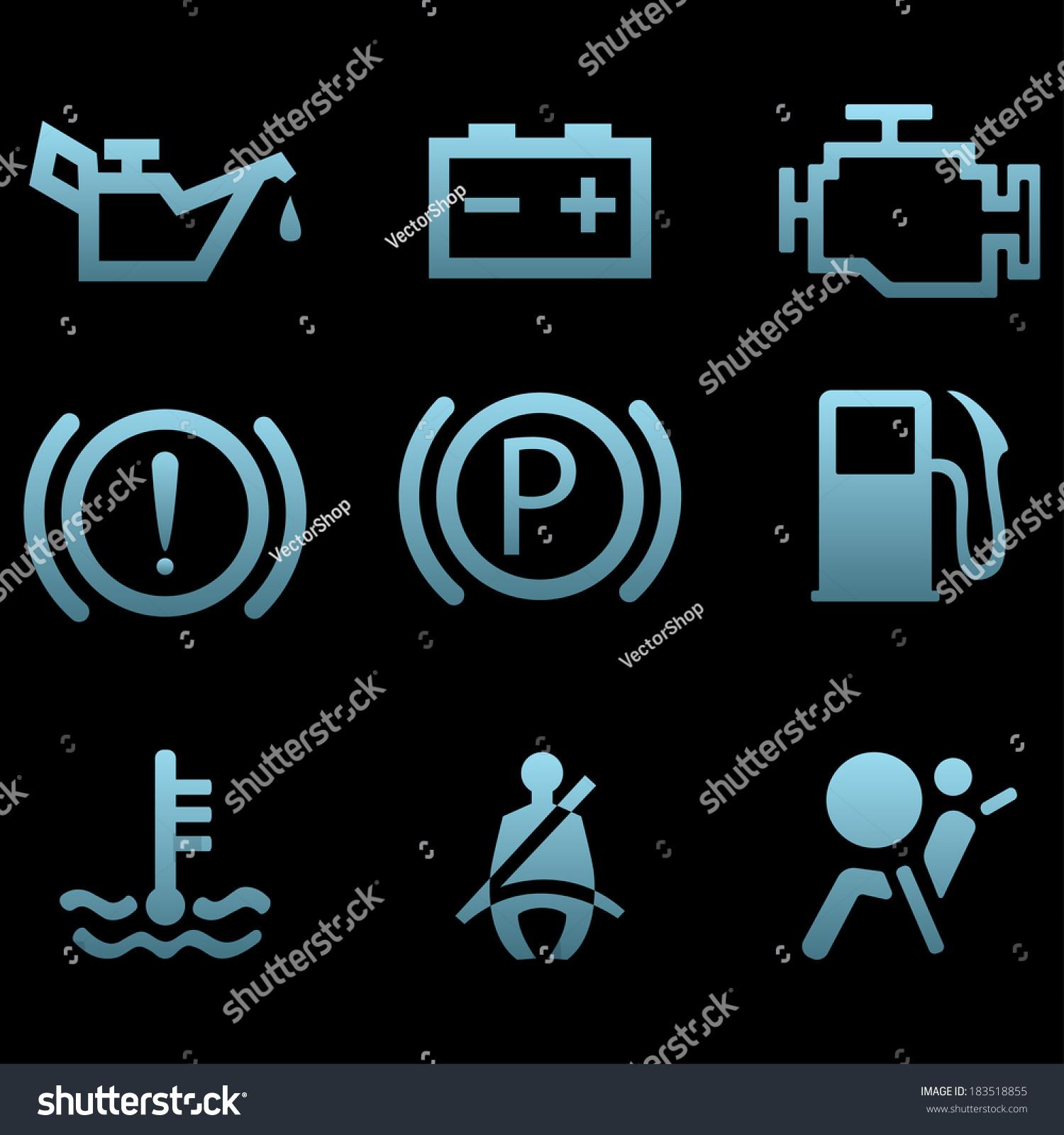 Car Interface Symbols Icon Set Car Stock Vector - Car signs and symbols