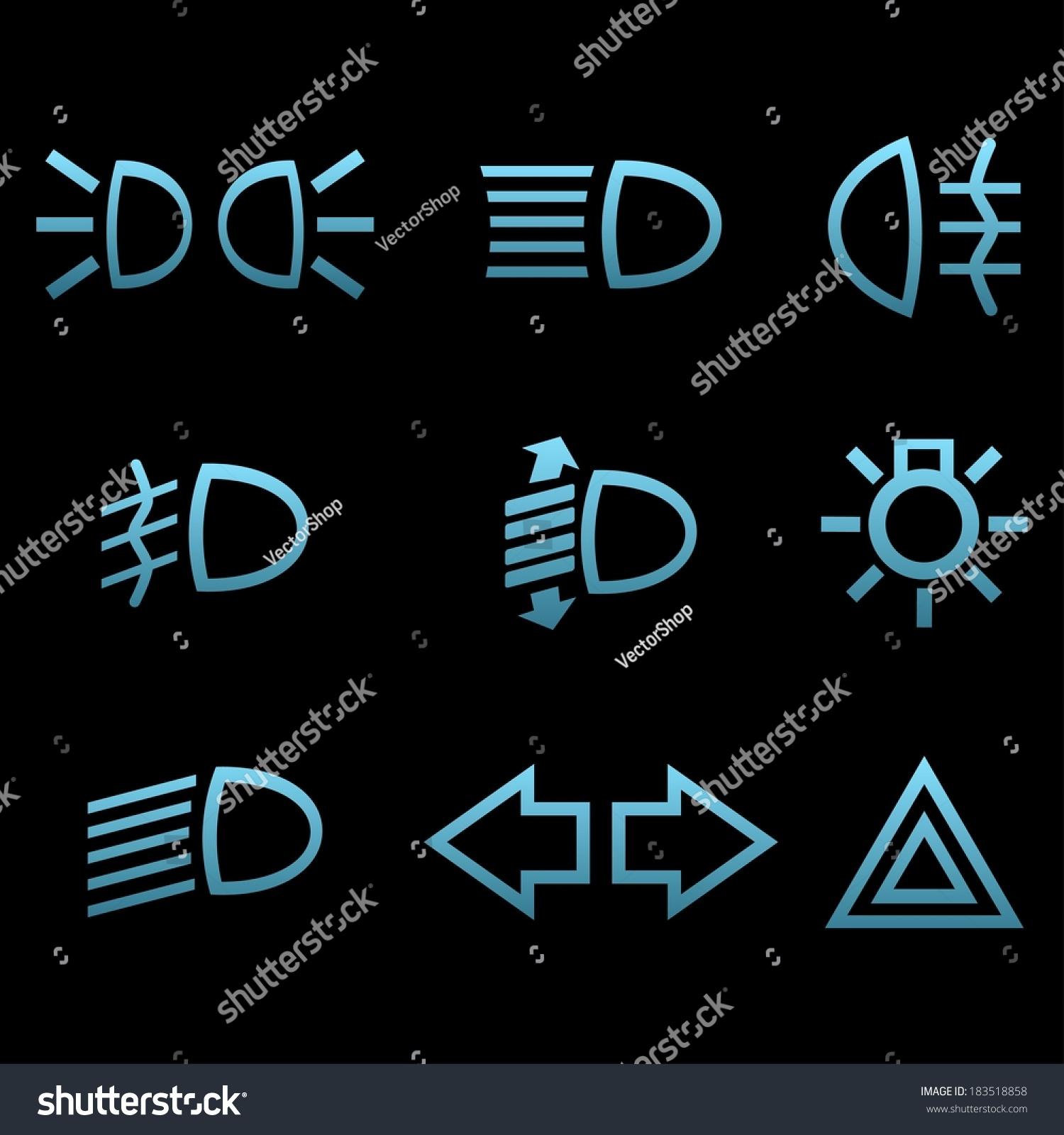 Car Interface Symbols Icon Set Car Stock Vector Royalty Free