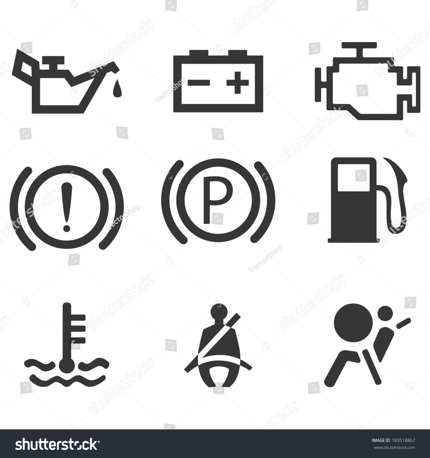 Car Interface Symbols Icon Set Car Stock Vector 2018 183518867