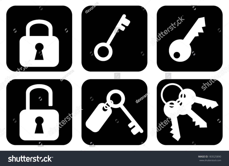 Set Collection Group Keys Padlocks Web Stock Vector 183525890 ...