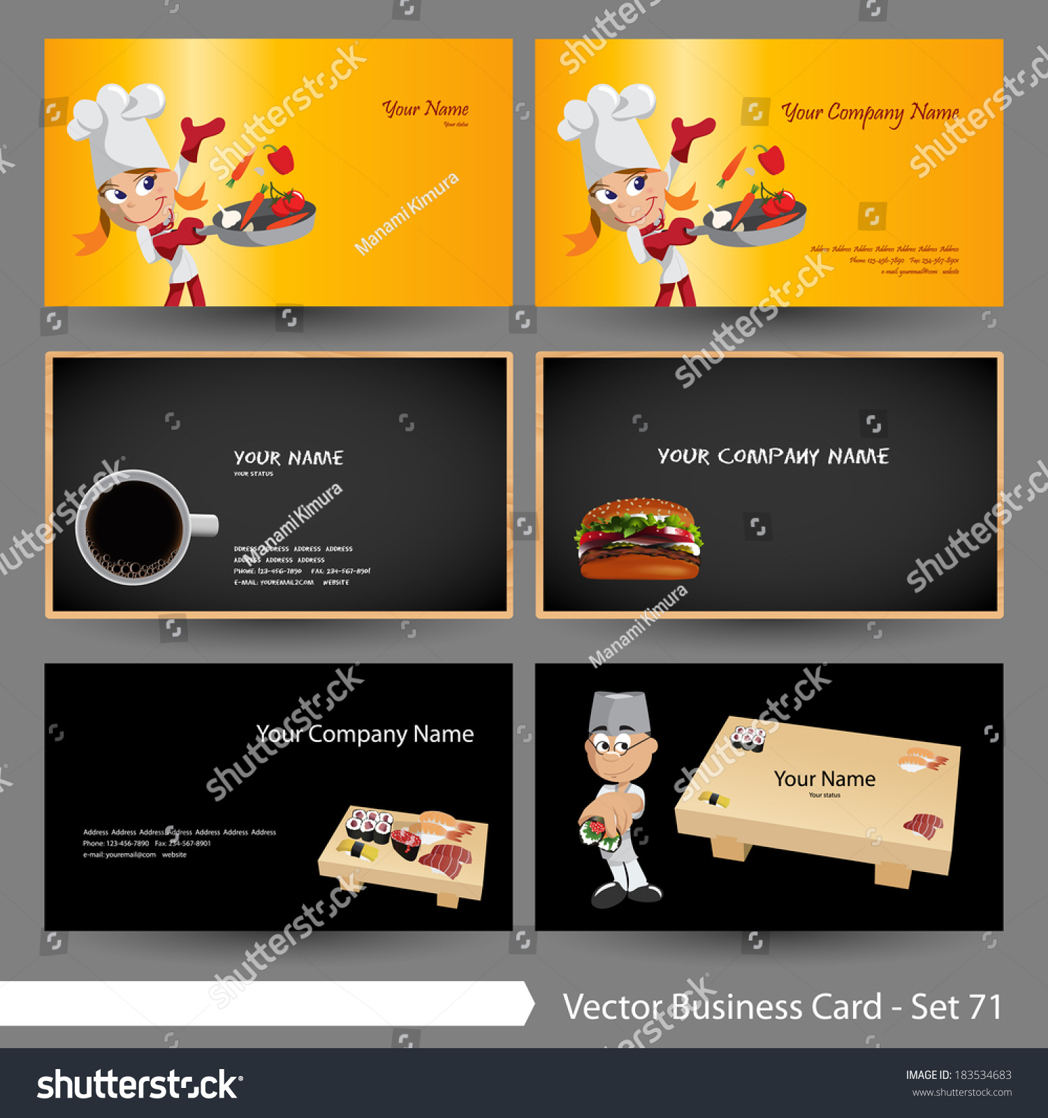 vector business card template set food stock vector