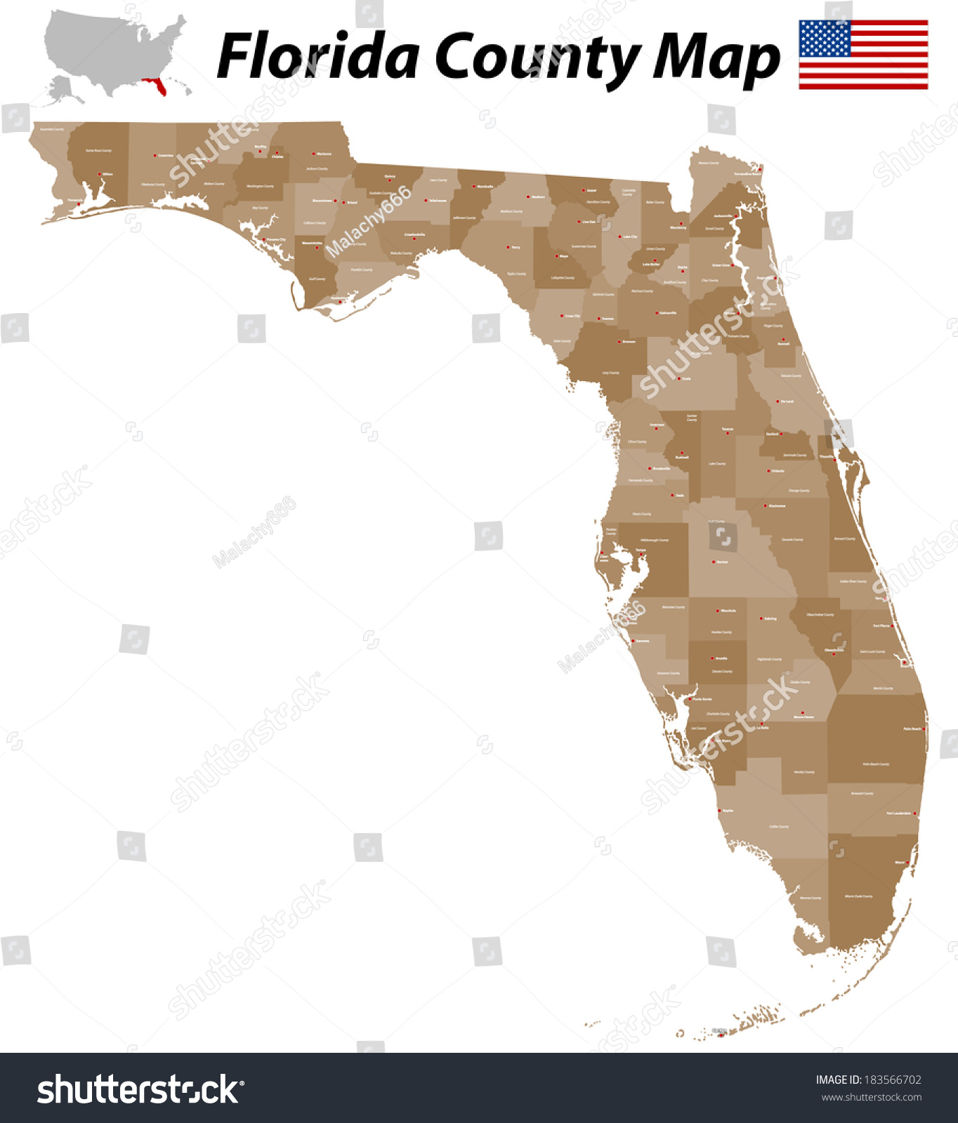 Detailed Map Florida All Counties Main Stock Vector - Fl county map with cities