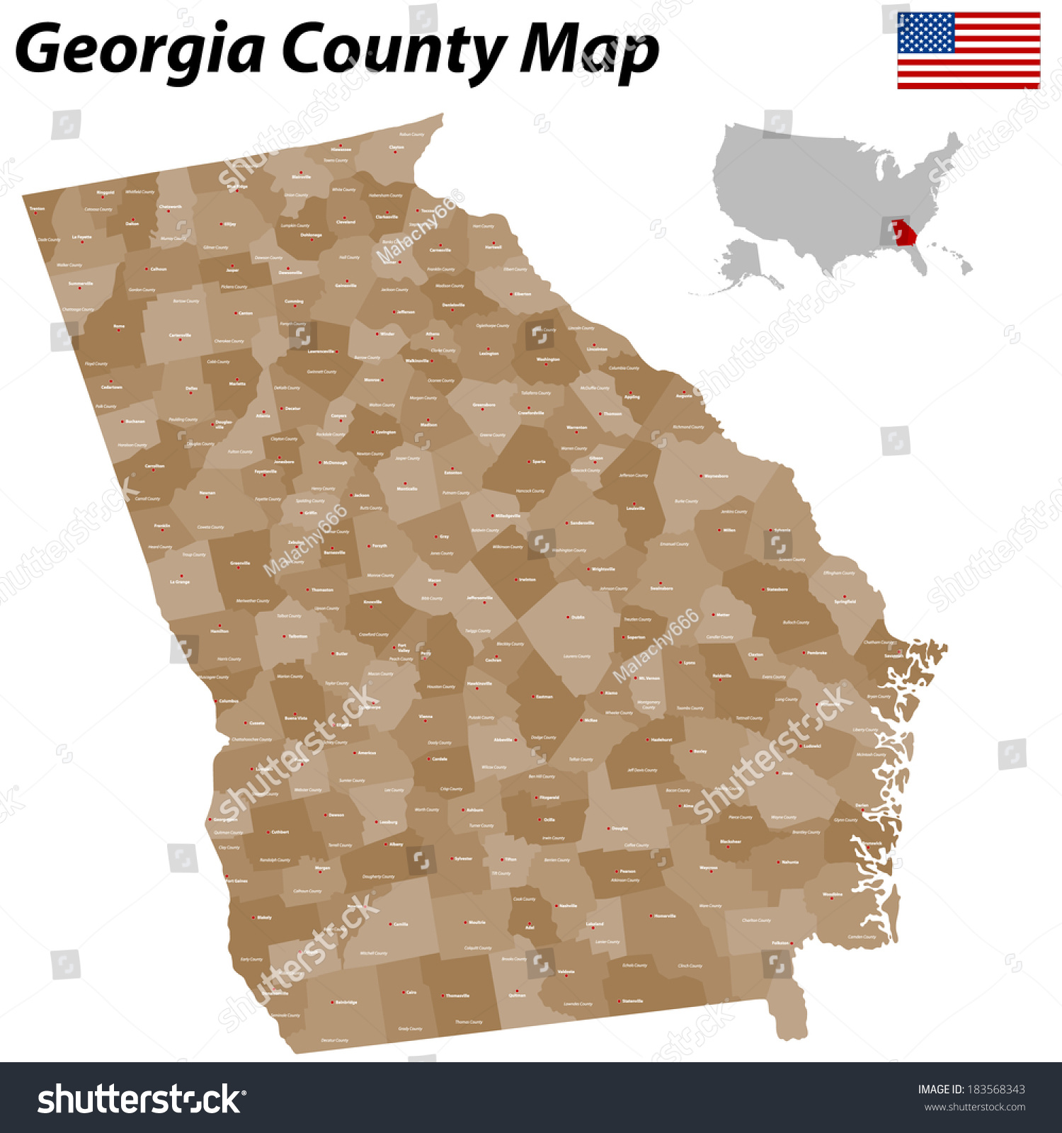 Detailed Map State Georgia All Counties Stock Vector Royalty Free