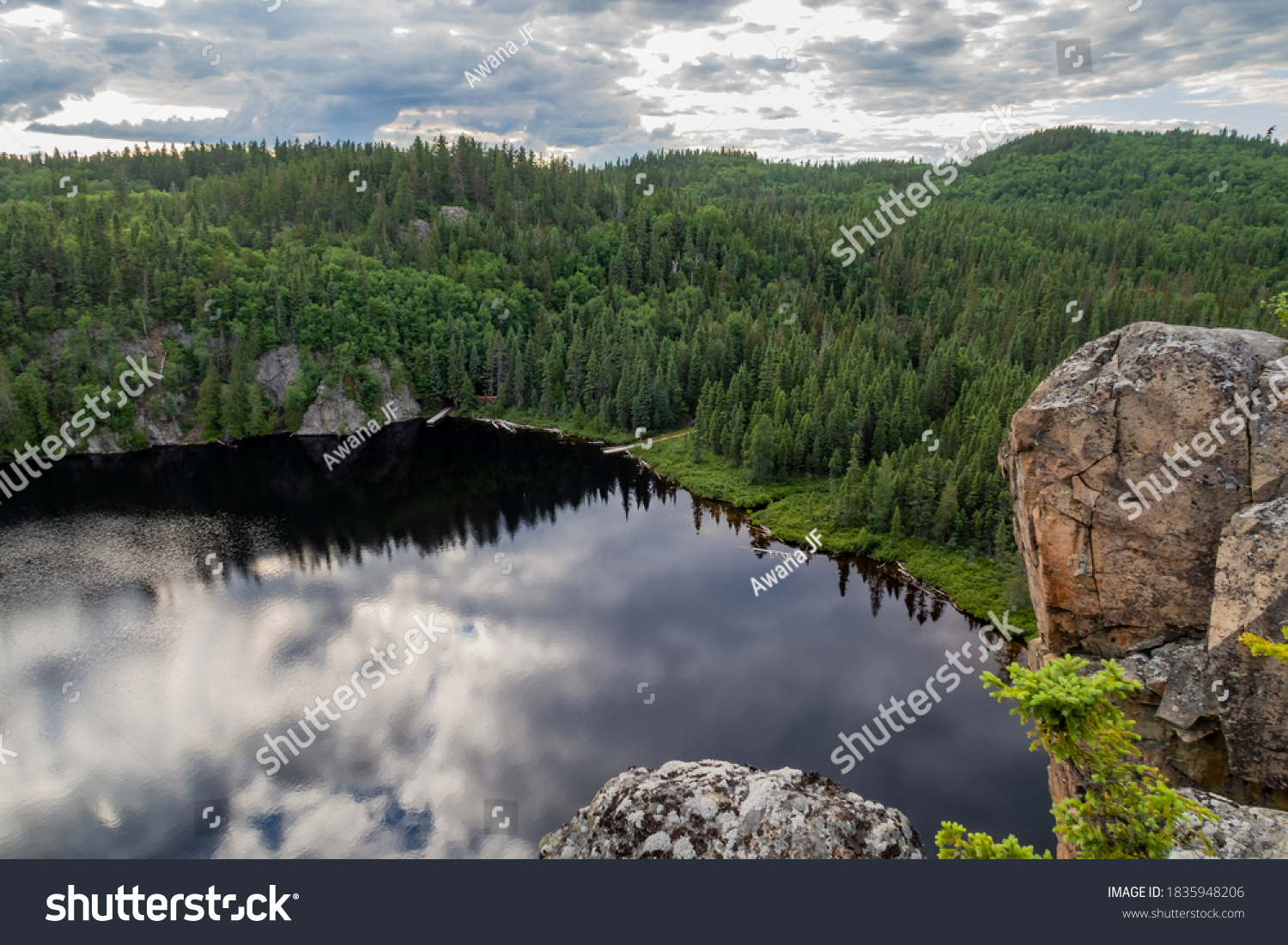 stock-photo-top-view-of-a-lake-surrounde