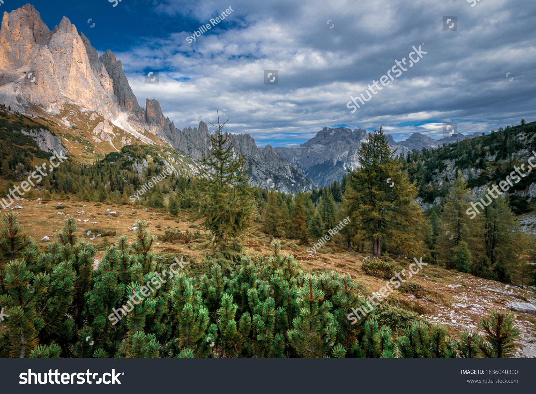Mountain landscape from the Cadini di Misurina mountain group in the Dolomites, Italian alps.