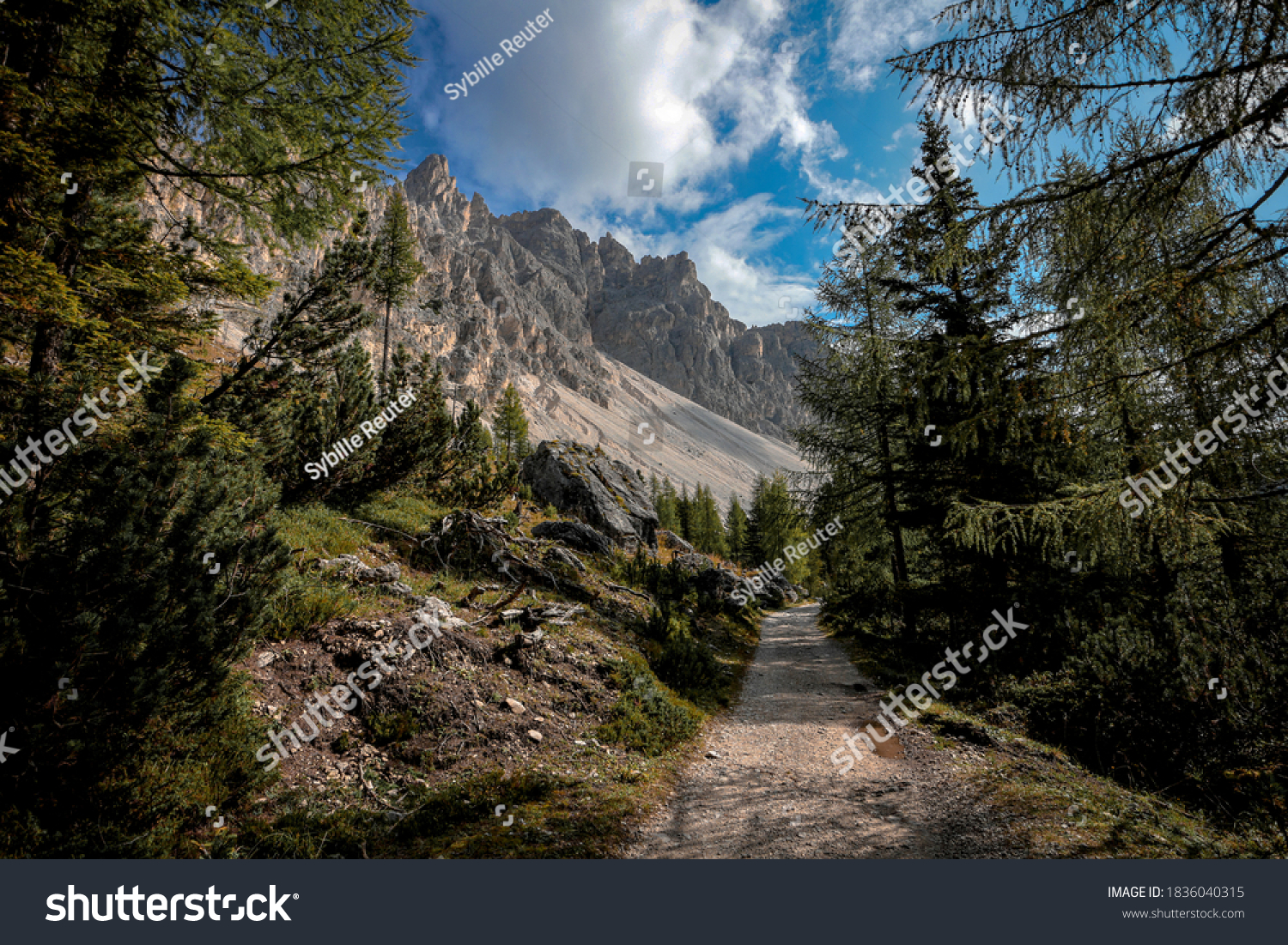 Hiking path in the mountain landscape of the Cadini di Misurina mountain group in the Dolomites, Italian alps.
