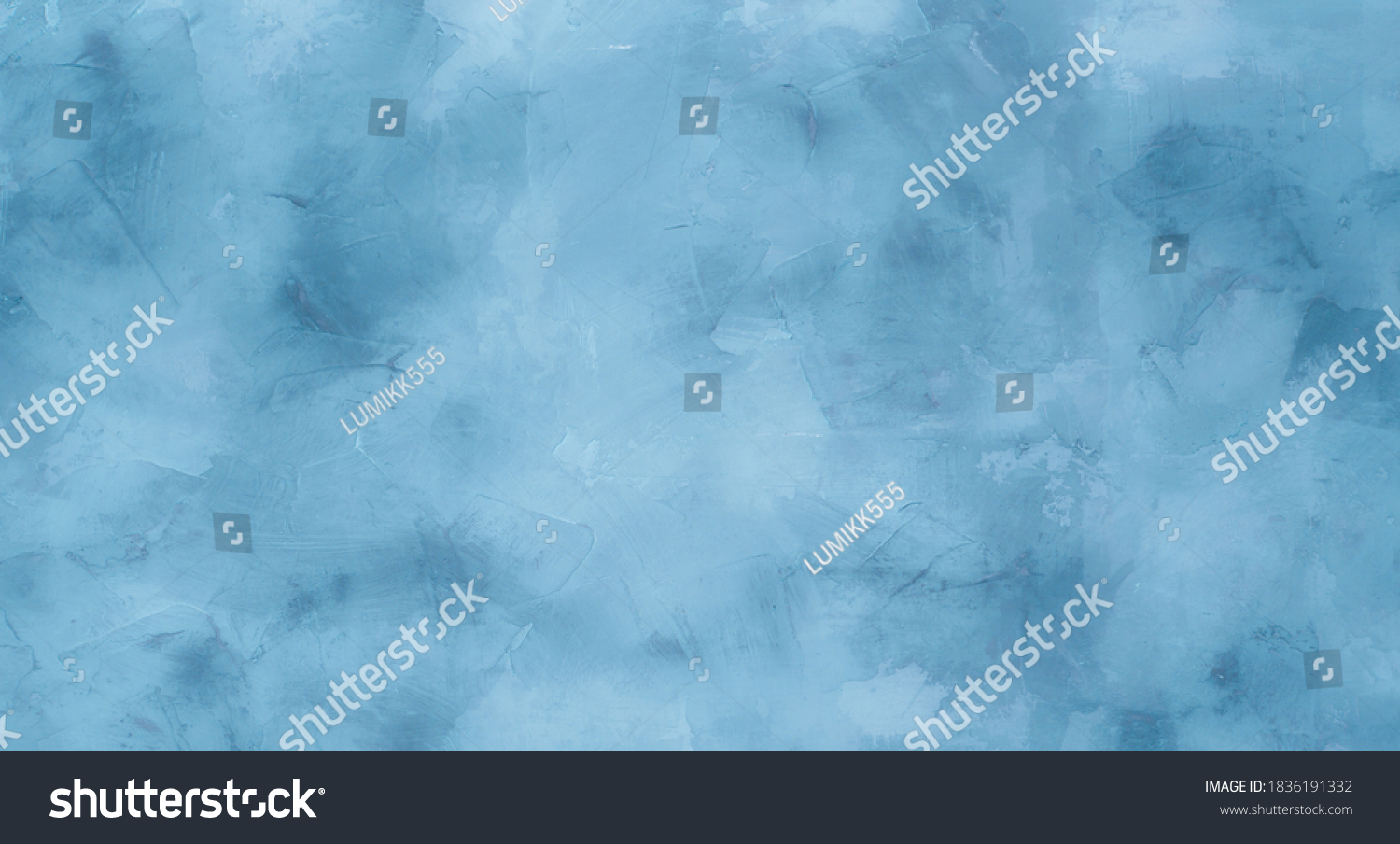 Abstract Grunge light blue stucco Background. Decorative artistic Wall room Close up. Rough Surface plaster Texture With Copy Space for design. #1836191332