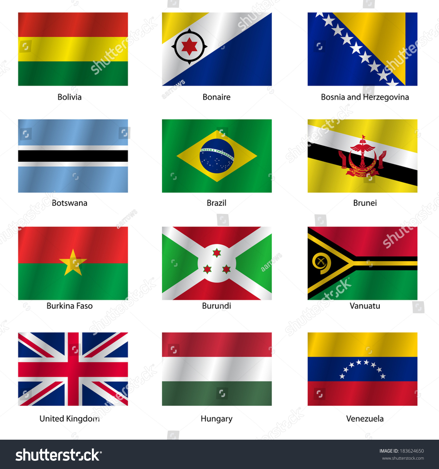 Set Flags World Sovereign States Vector Stock Vector 183624650 ...