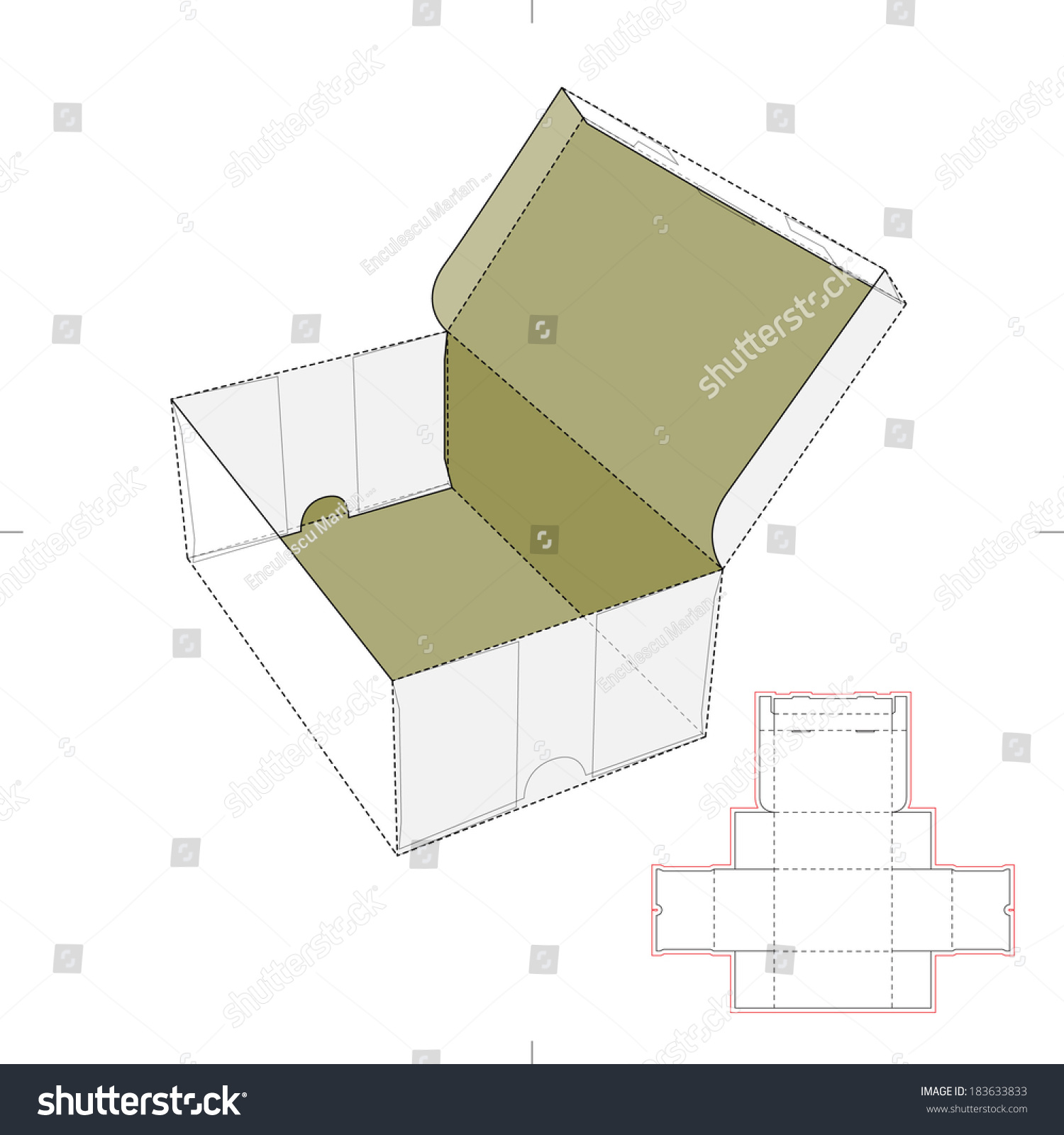 shoe box diecut pattern stock vector royalty free 183633833
