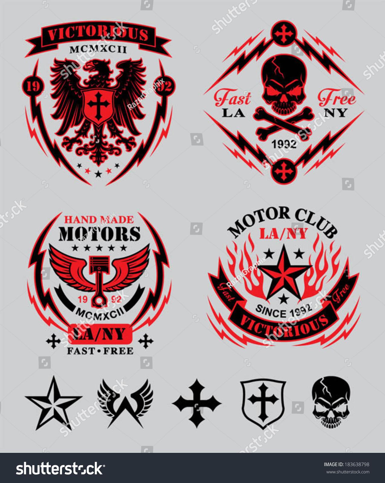 Motor Club Emblem Set Stock Vector Illustration 183638798