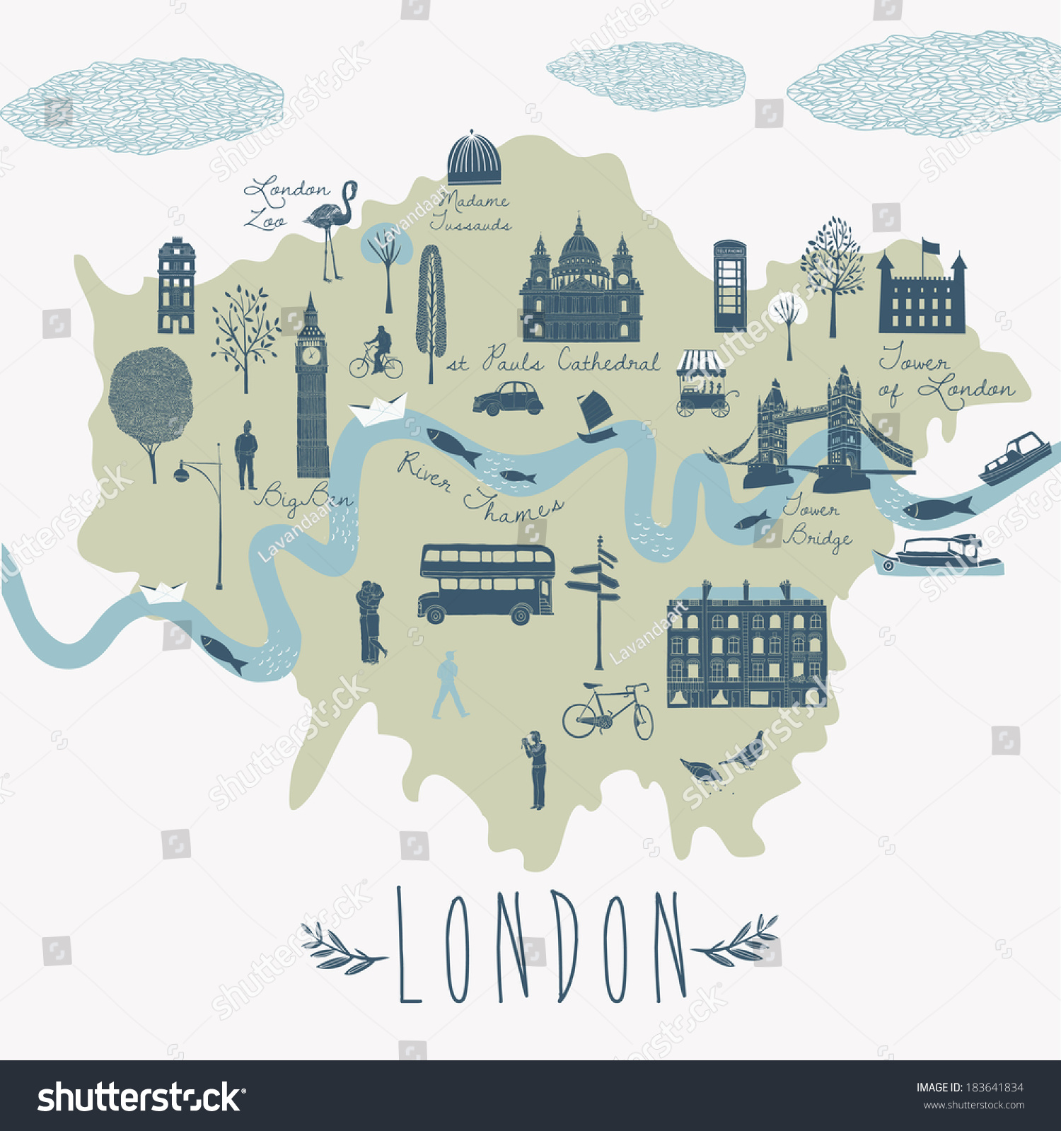 Map London Attractions Vector 183641834 Shutterstock – Map Of London Tourist Sites