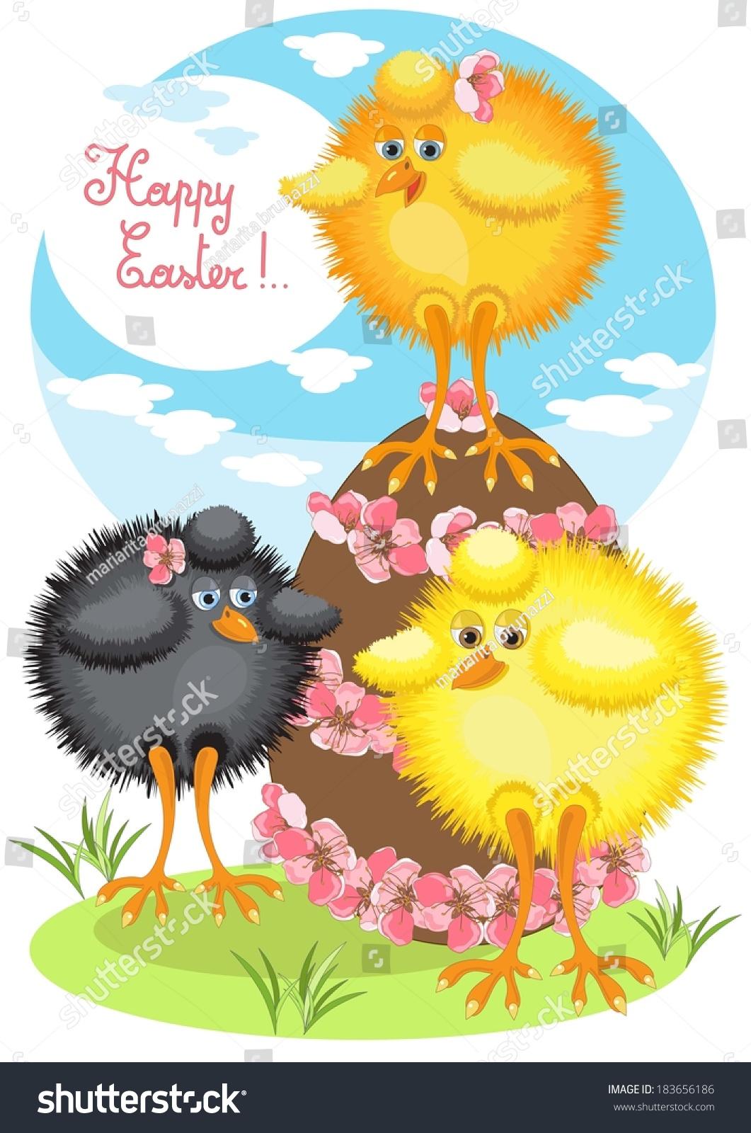 three big chicks easter egg stock vector 183656186 - shutterstock
