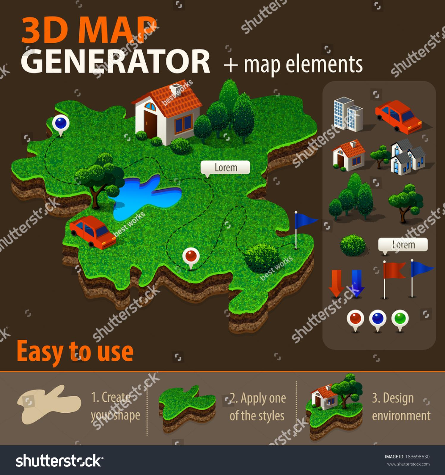 Vector 3 d map generator vector de stock183698630 shutterstock vector 3d map generator gumiabroncs Gallery